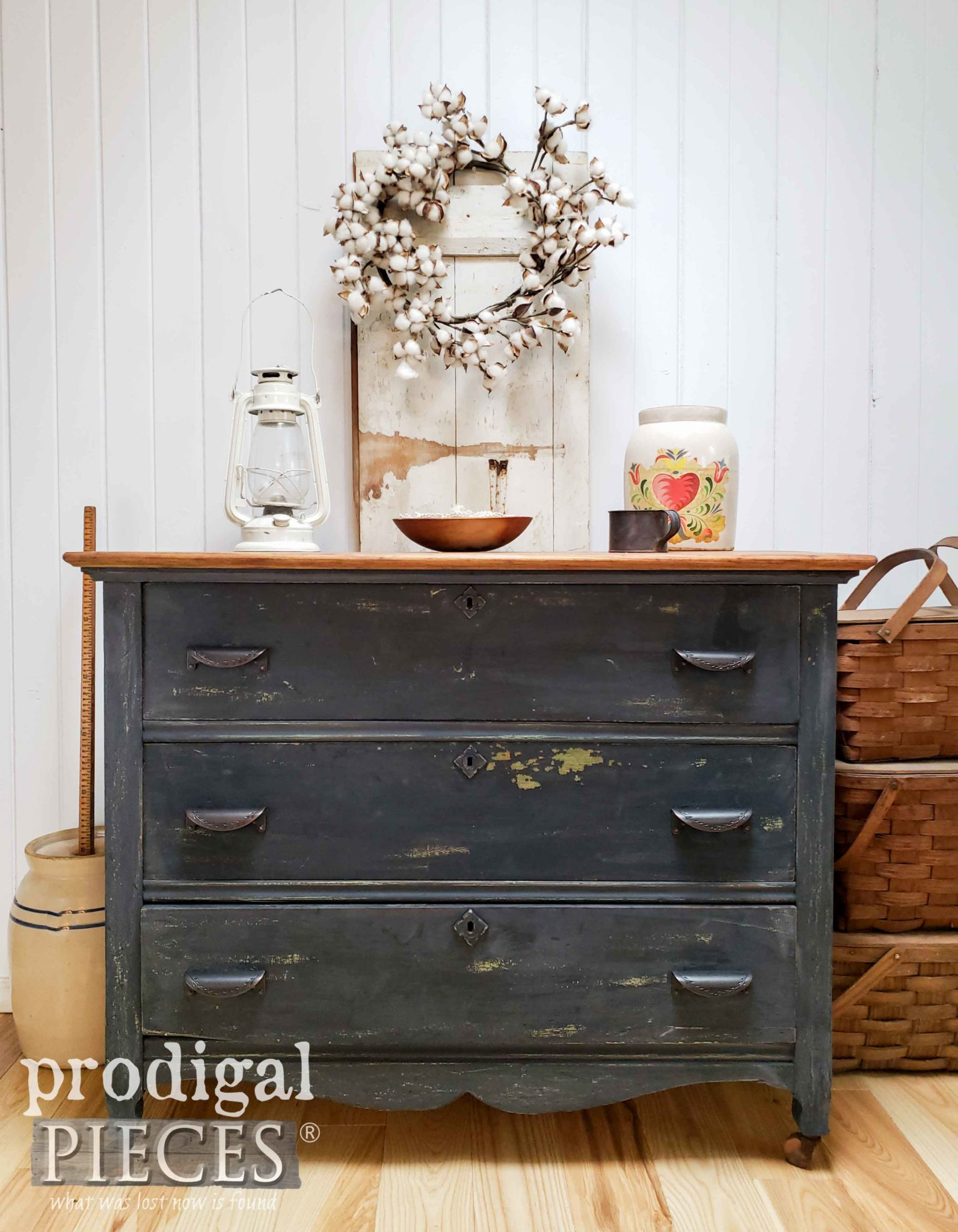 Rustic Farmhouse Chest of Drawers with Chippy Milk Paint by Larissa of Prodigal Pieces | Tutorial at prodigalpieces.com #prodigalpieces #farmhouse #furniture #home #homedecor #milkpaint #diy