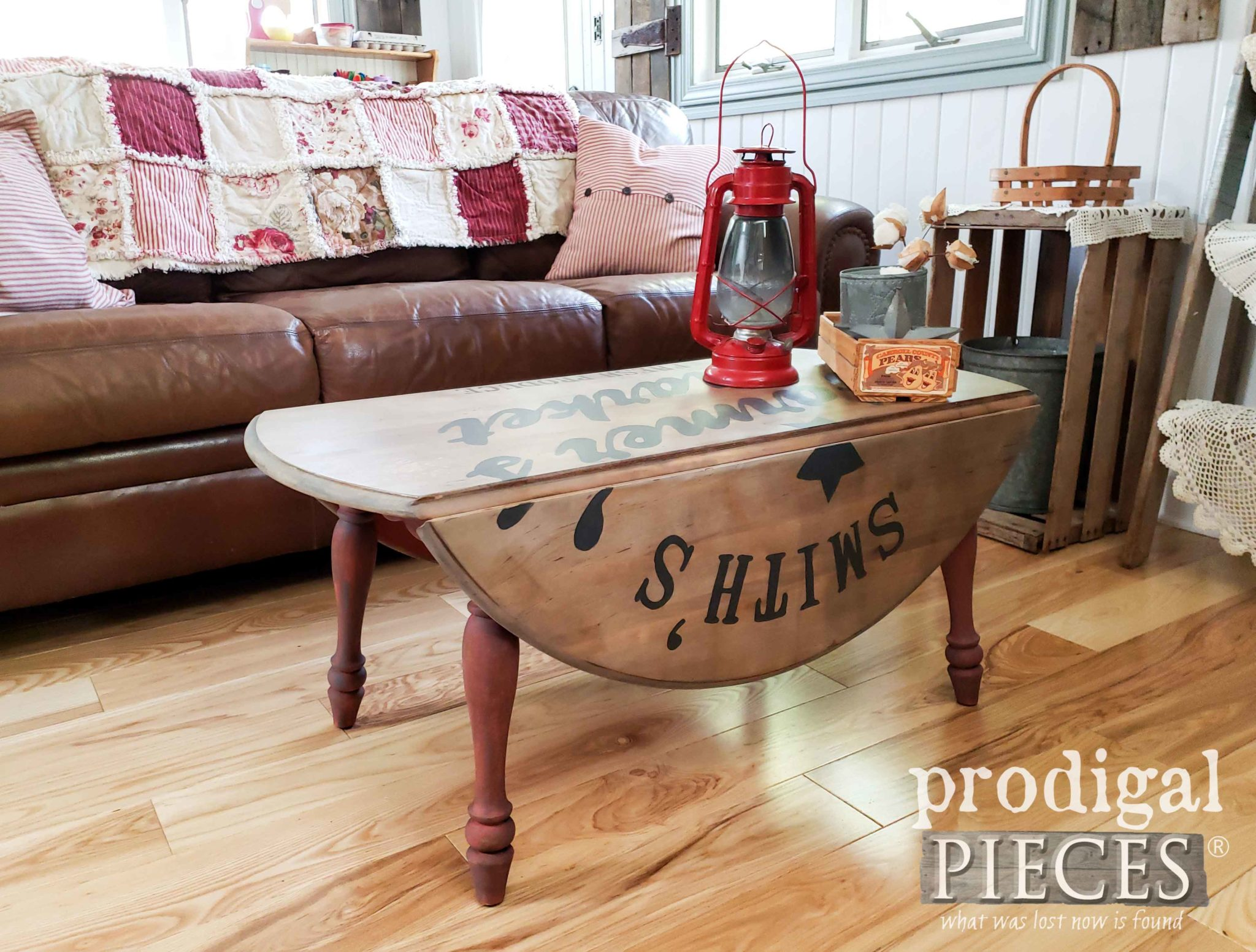 Rustic Farmhouse Coffee Table with Drop-Leaf Sides Created by Larissa of Prodigal Pieces | prodigalpieces.com #prodigalpieces #farmhouse #home #homedecor #diy