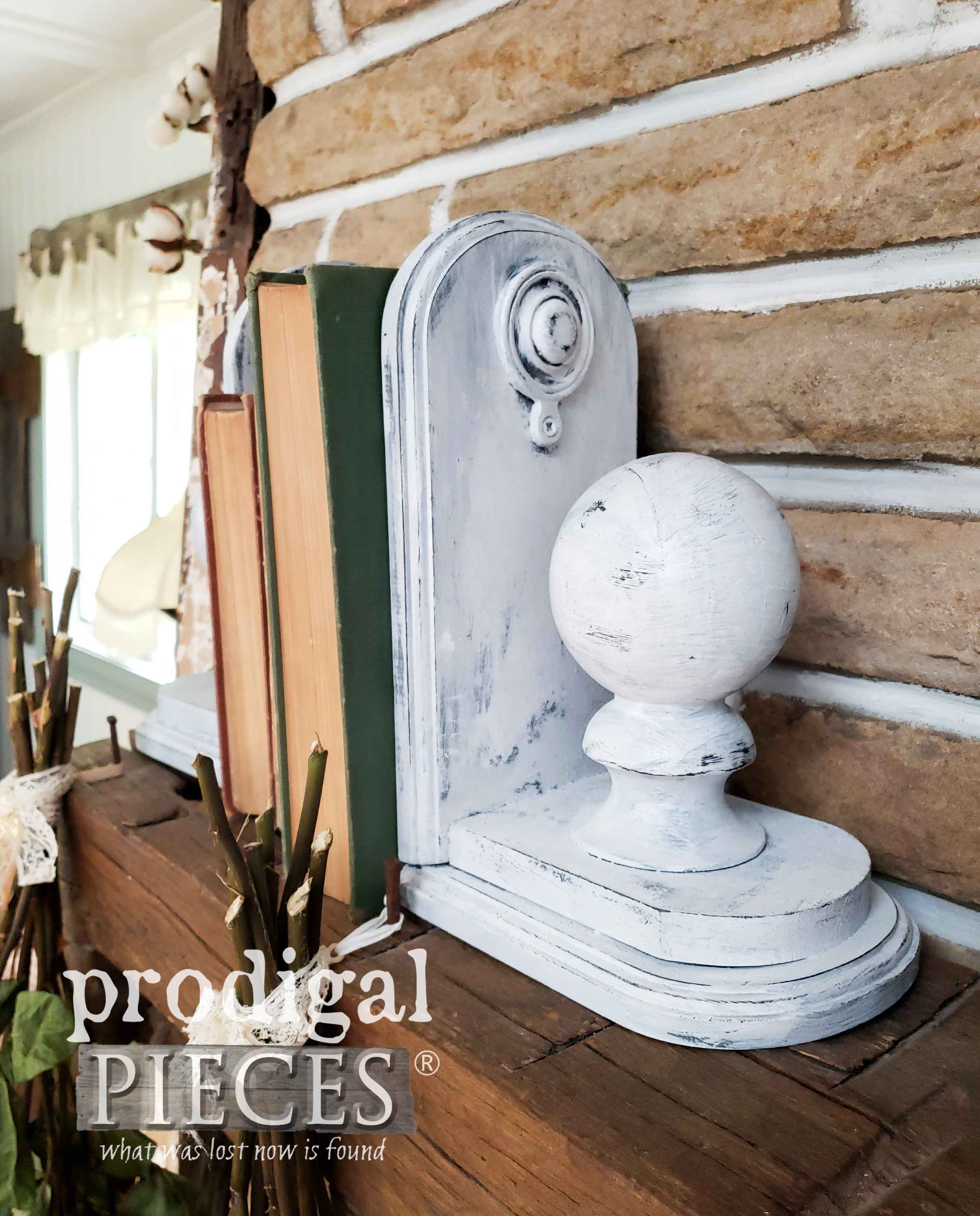Shabby Chic Farmhouse Style Bookends Created by Larissa of Prodigal Pieces | prodigalpieces.com #prodigalpieces #diy #home #homedecor #farmhouse