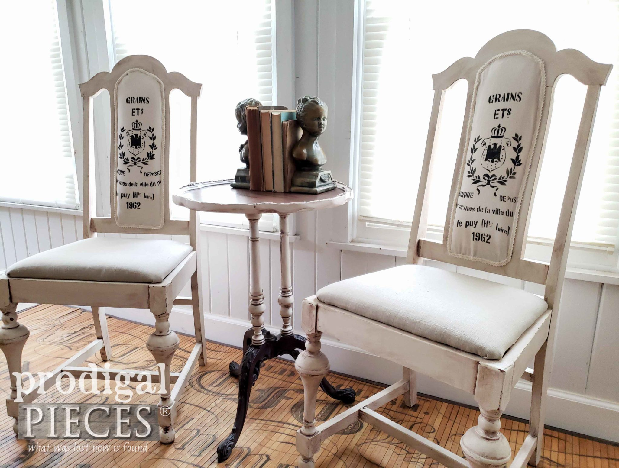 Shabby Chic Grain Sack Antique Dining Chairs by Larissa of Prodigal Pieces | prodigalpieces.com #prodigalpieces #home #furniture #diy #homedecor