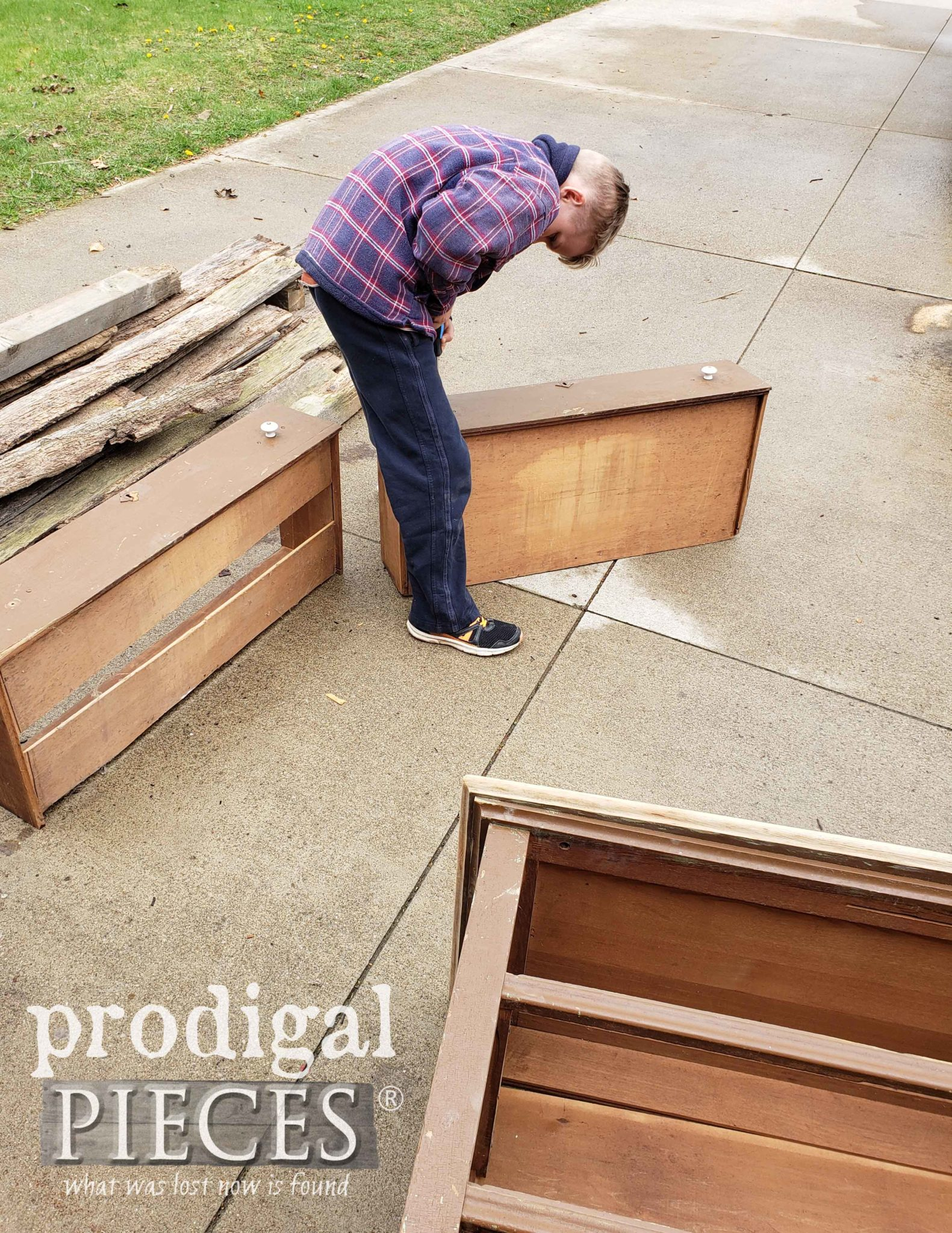 Son Helping Mama Repair Chest of Drawers | prodigalpieces.com