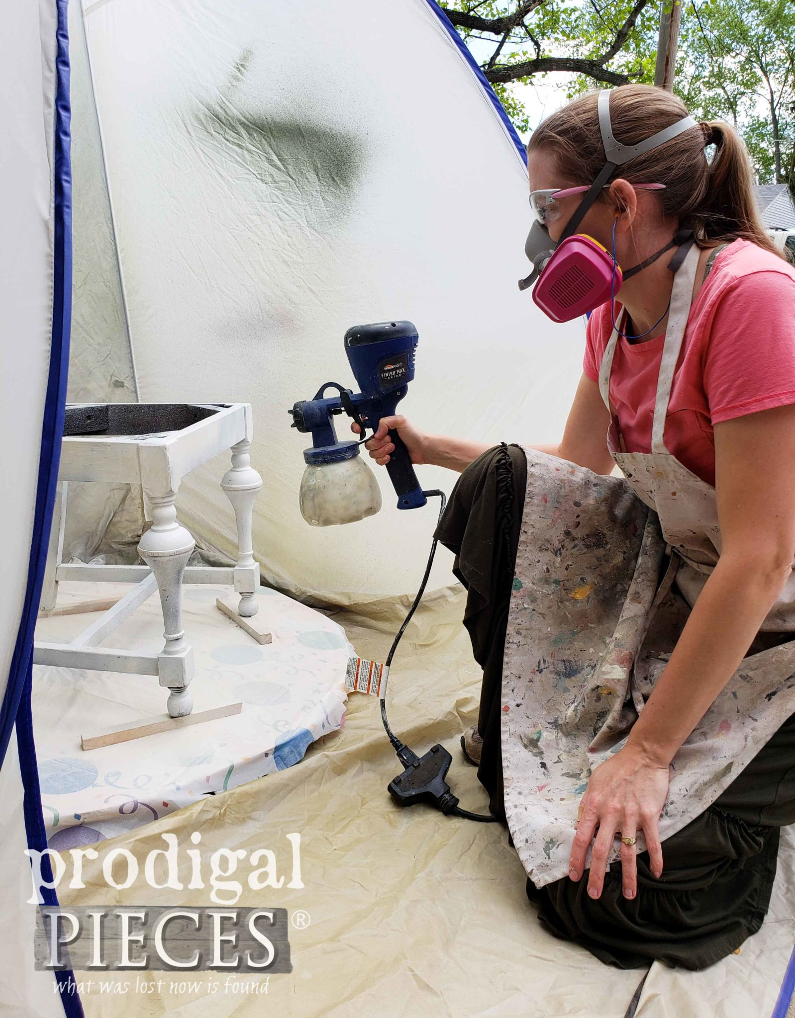 Spraying First Coat of Paint with HomeRight Super Finish Max Extra by Larissa of Prodigal Pieces | prodigalpieces.com #prodigalpieces #diy #home #homedecor #furniture #tools