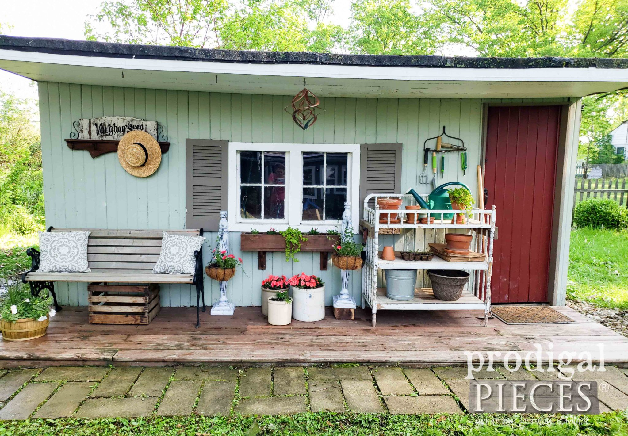 Spring Garden Shed with Upcycled DIY Decor by Larissa of Prodigal Pieces | prodigalpieces.com #prodigalpieces #diy #home #garden #homedecor
