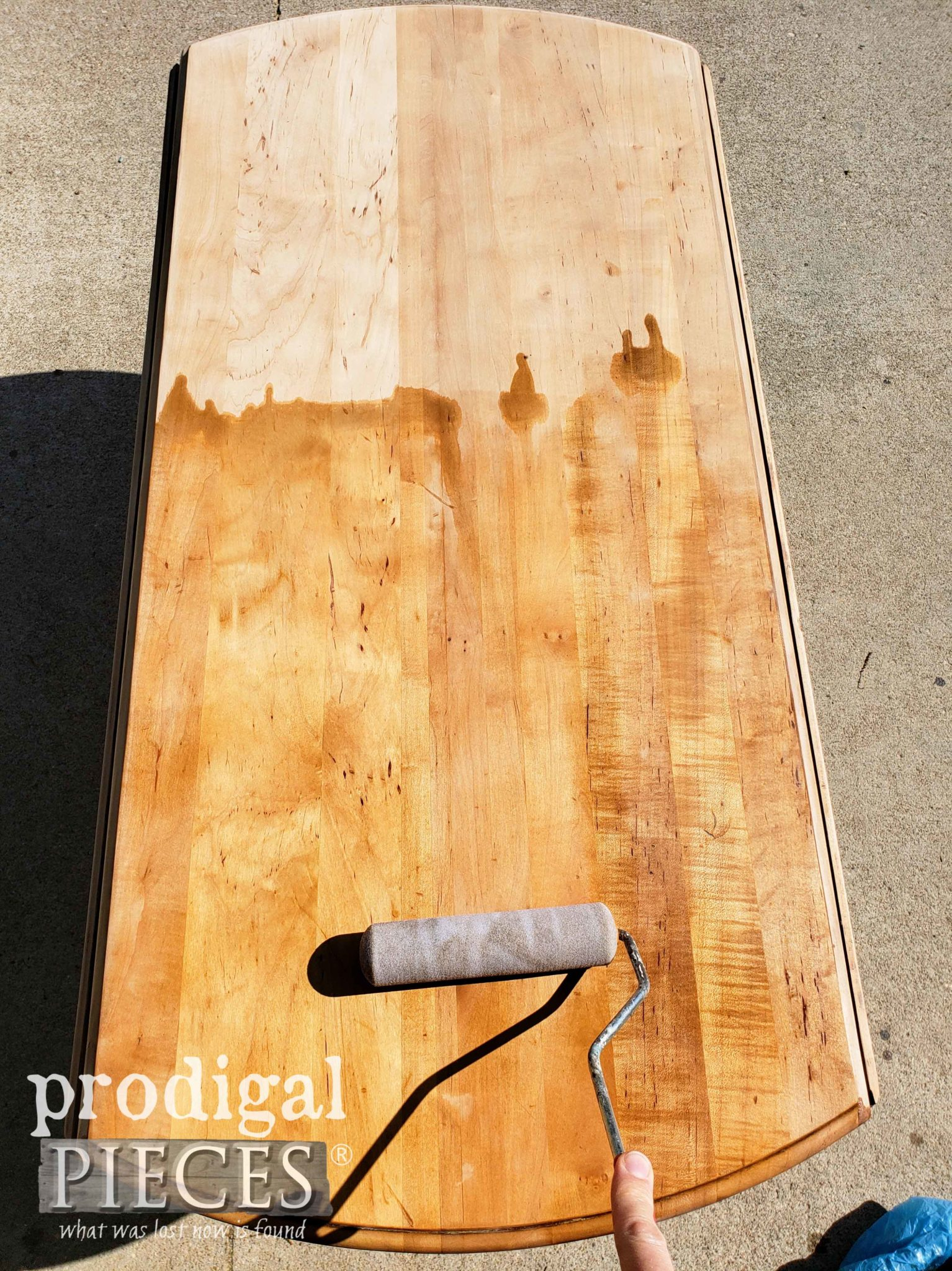Applying Weatherwood Stain to Vintage Drop-Leaf Table Top by Larissa of Prodigal Pieces | prodigalpieces.com