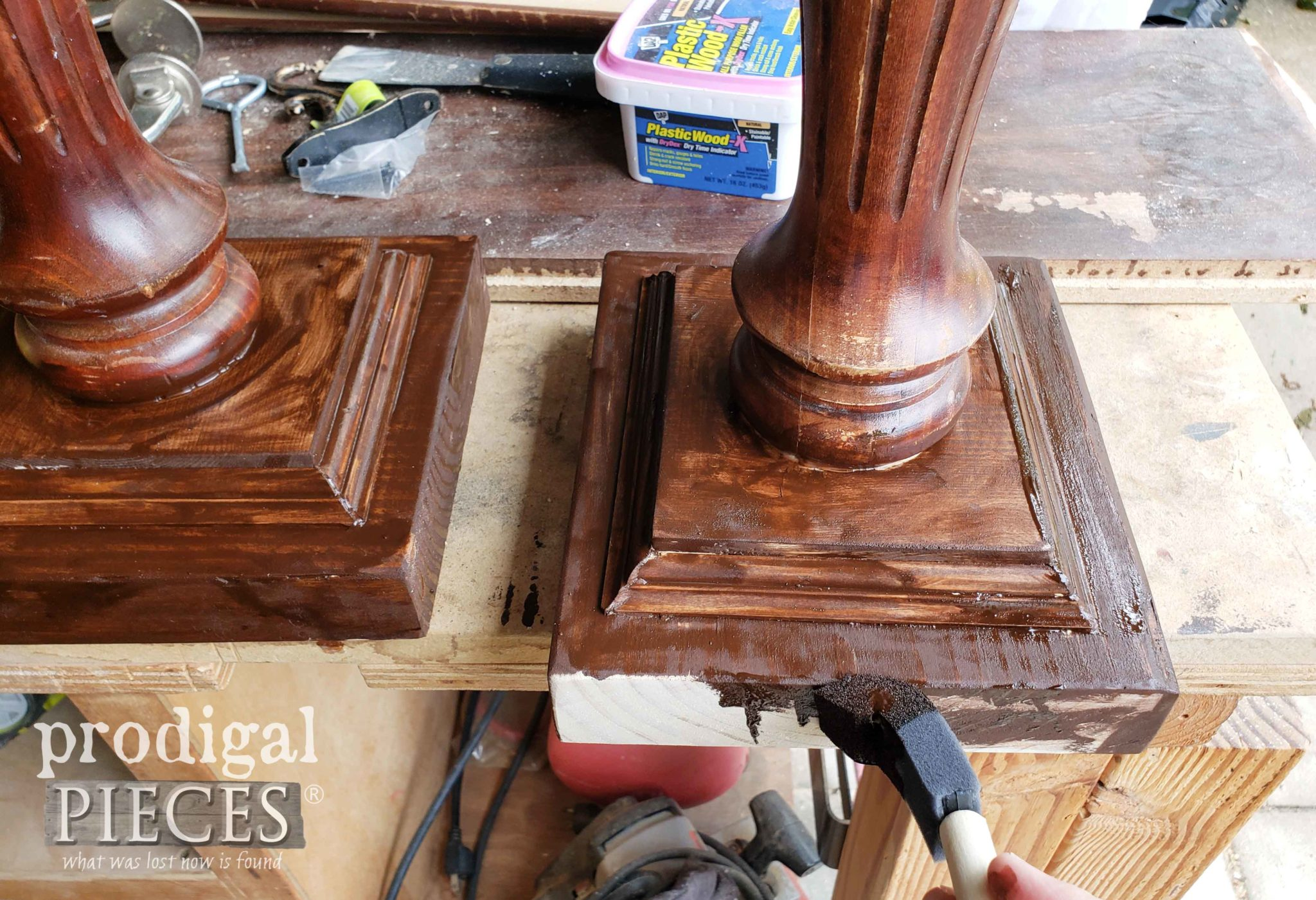 Applying Stain to DIY Plant Stand Hangers | prodigalpieces.com