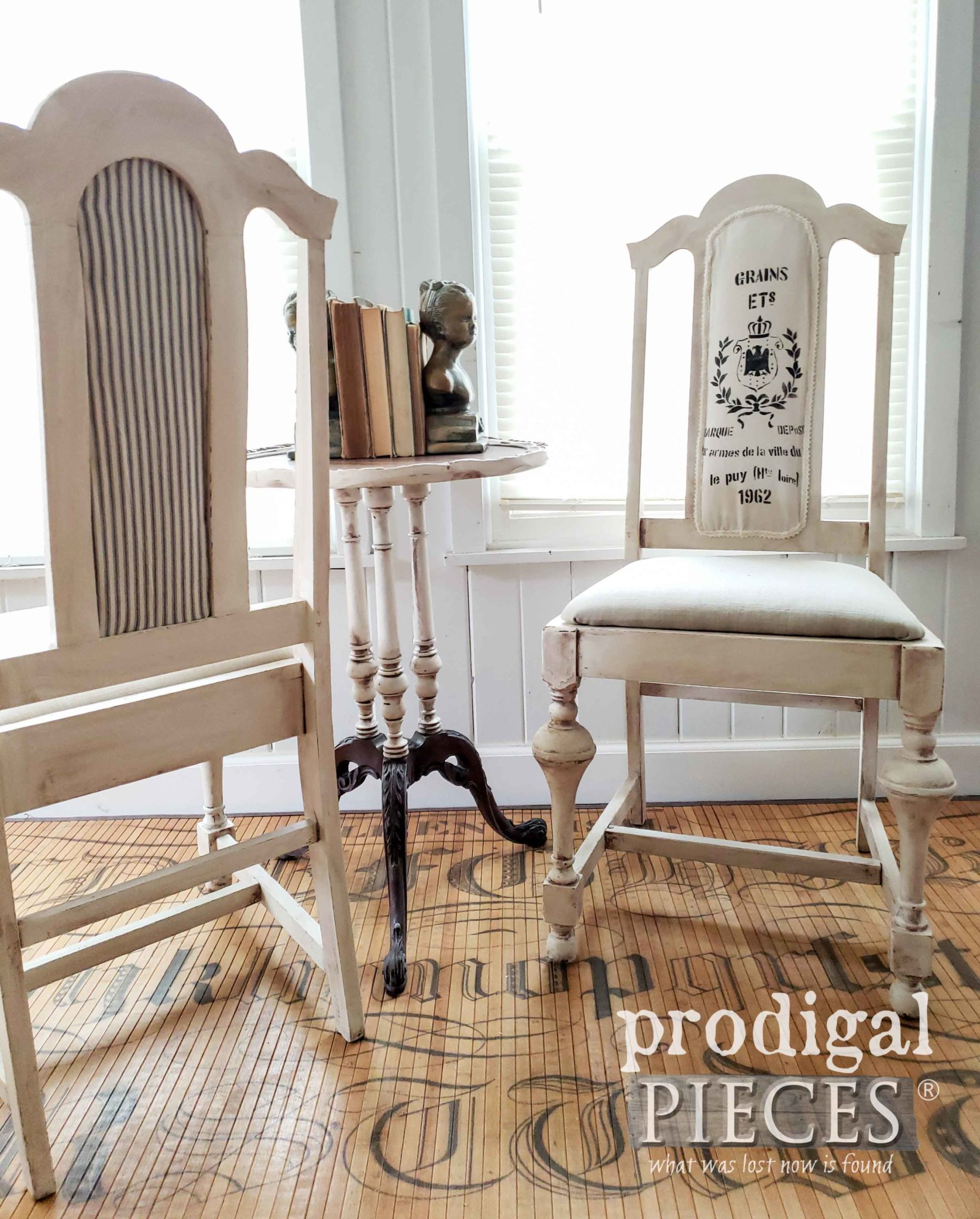 Ticking Stripe French Dining Chairs by Larissa of Prodigal Pieces | prodigalpieces.com #prodigalpieces #diy #home #homedecor #furniture #farmhouse