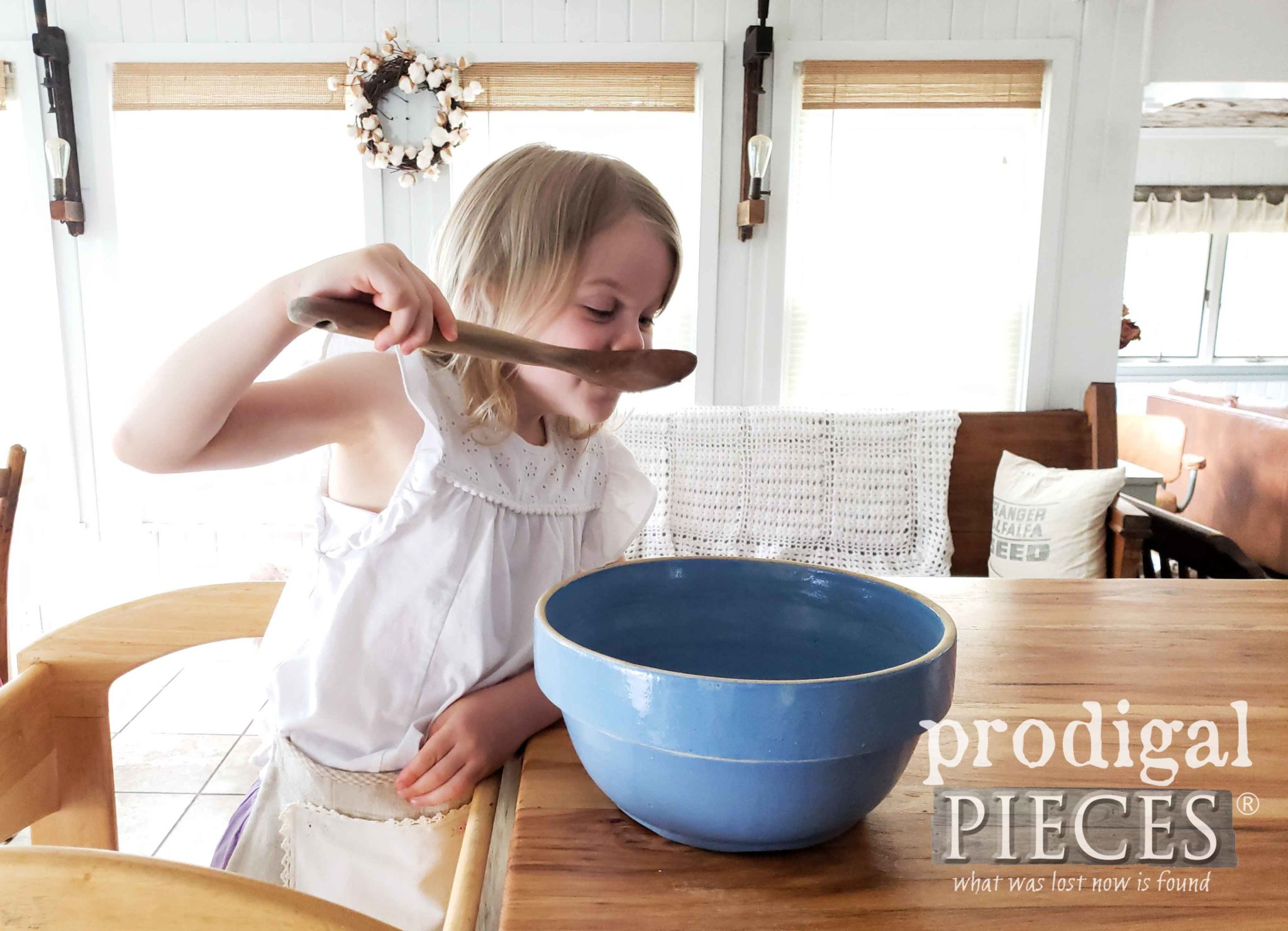 Toddler with Antique Mixing Bowl in Farmhouse Kitchen | prodigalpieces.com #prodigalpieces #farmhouse #home #homedecor