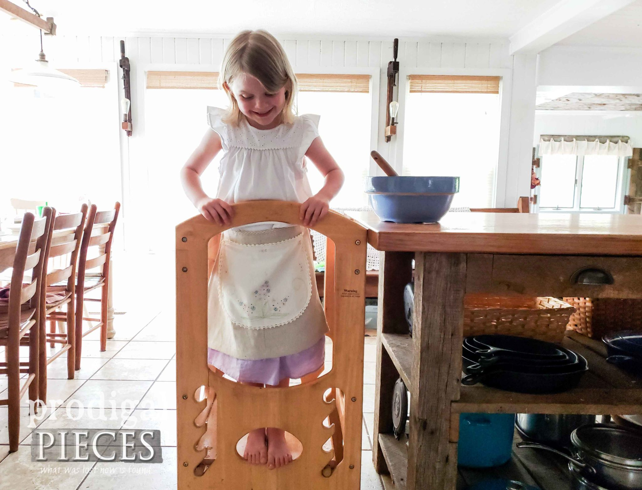 Toddler Learning Tower for Kids Helping in the Kitchen | DIY details at prodigalpieces.com #prodigalpieces #diy #home #homedecor #kids