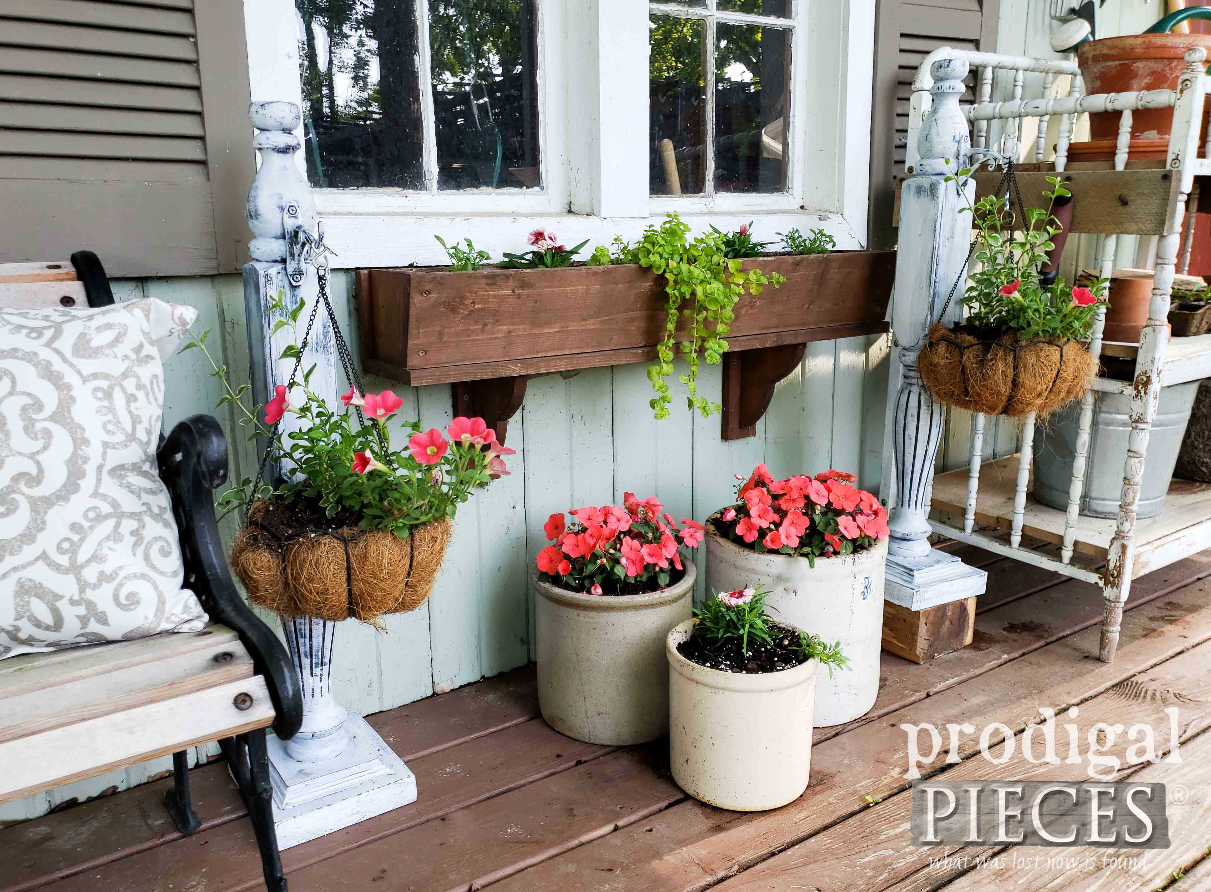 Upcycled Footboard for Garden Shed Decor by Larissa of Prodigal Pieces | prodigalpieces.com #prodigalpieces #home #garden #farmhouse #homedecor #summer #diy