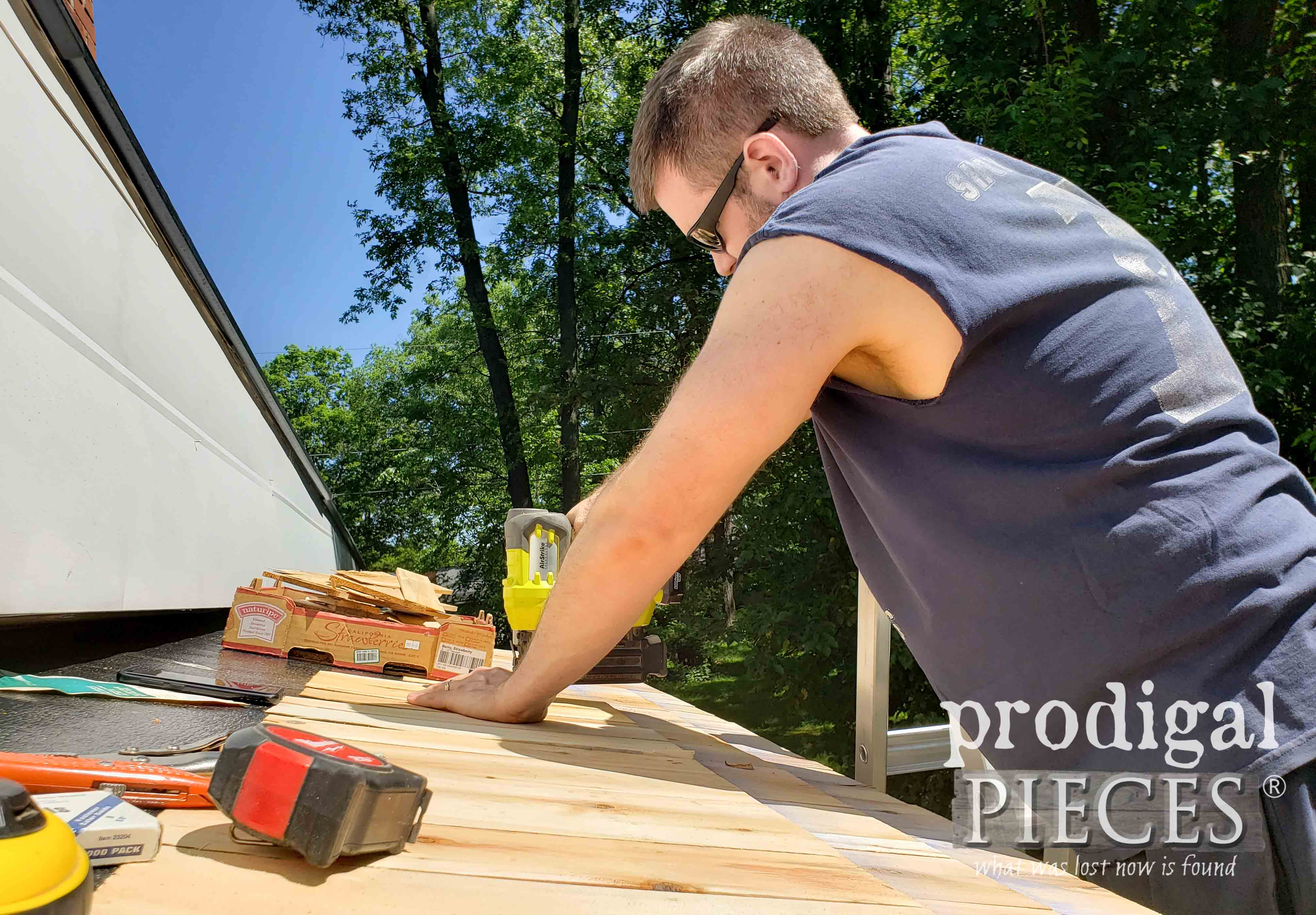 Nailing Cedar Shingles onto DIY Bike Garden Shed | prodigalpieces.com