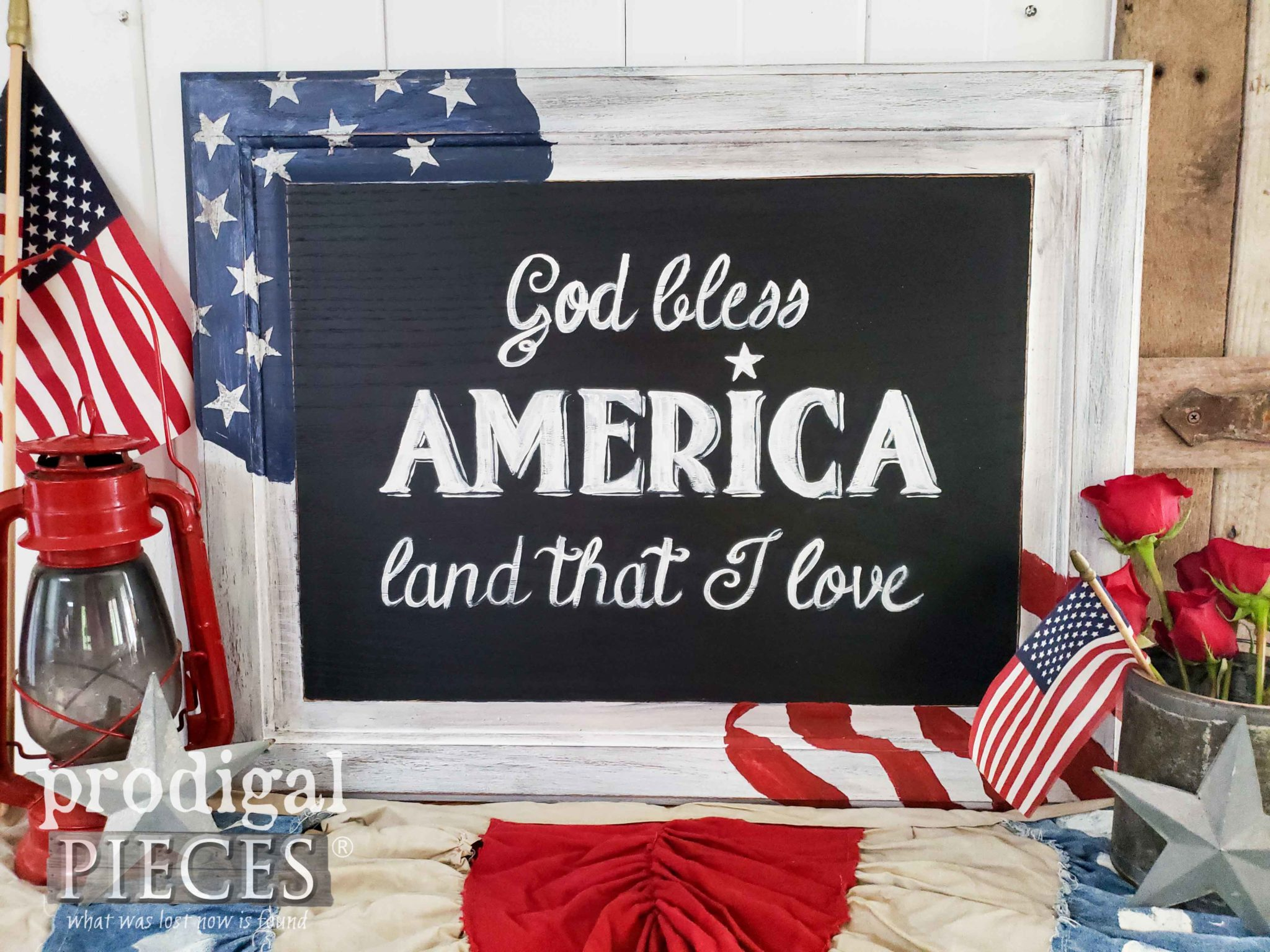 "American Flag Sign with ""God Bless America"" Typography 
