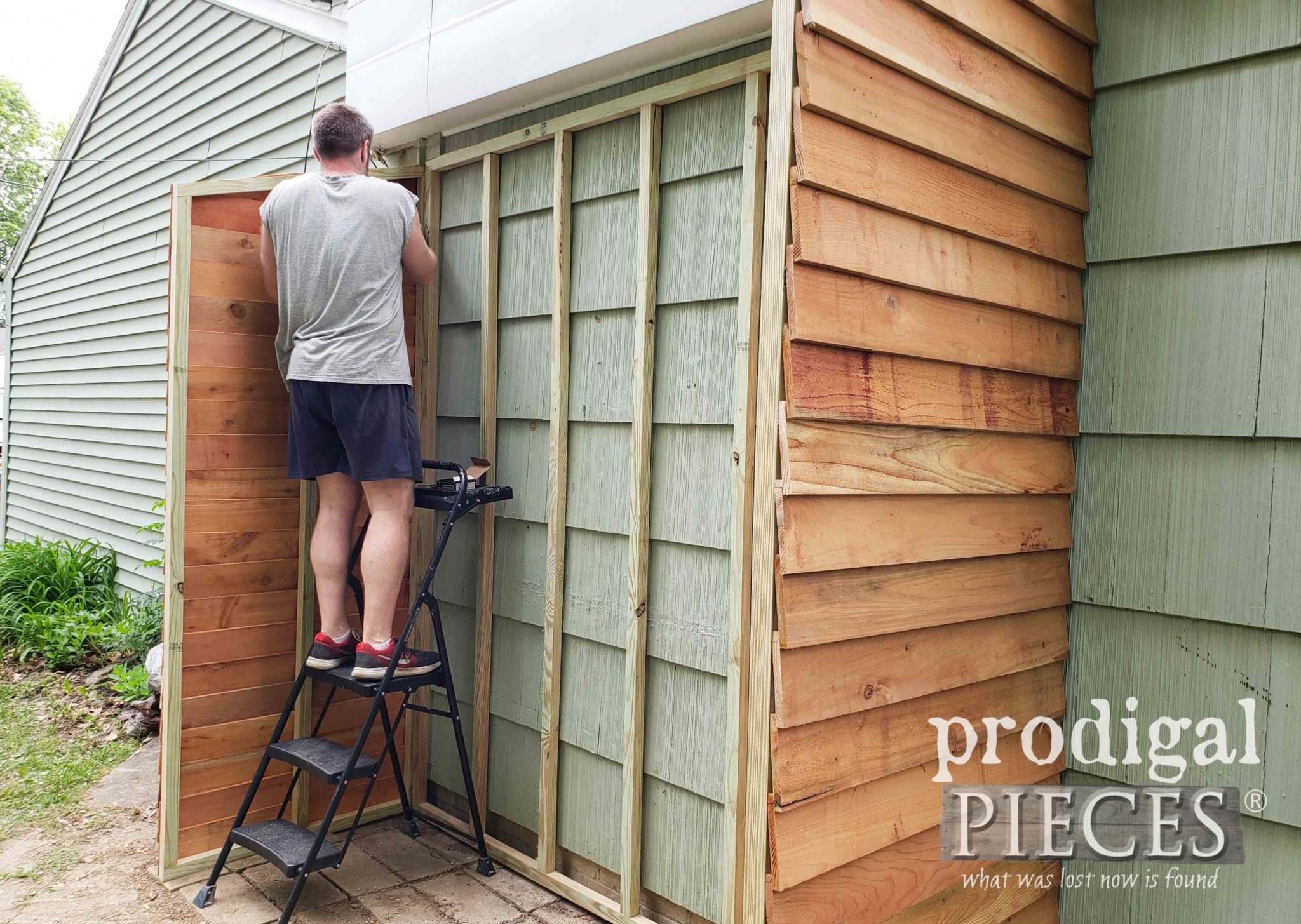 Assembling Second Wall of Cedar Garden Shed | prodigalpieces.com