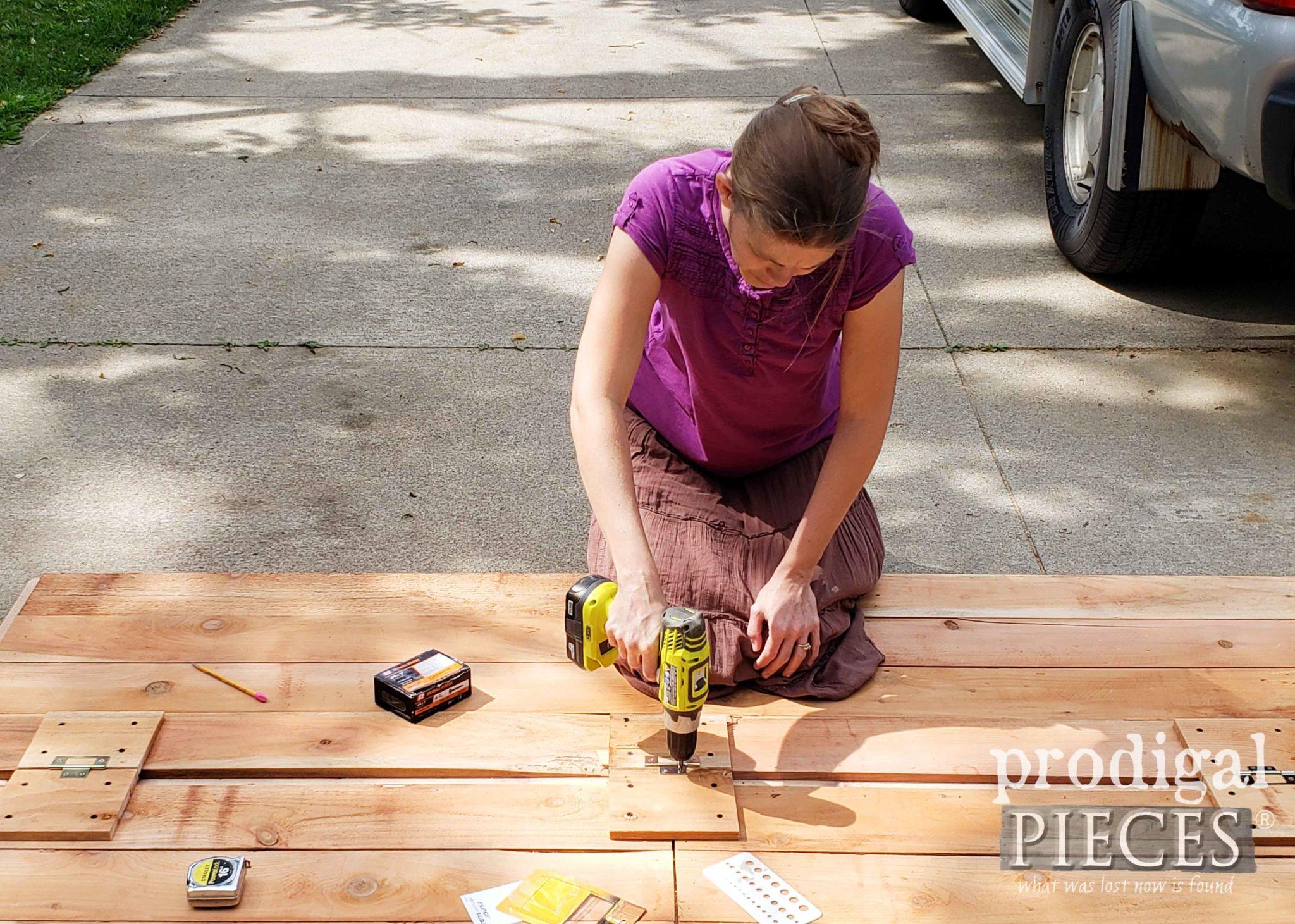 Assembling DIY Bike Garden Shed Doors | prodigalpieces.com