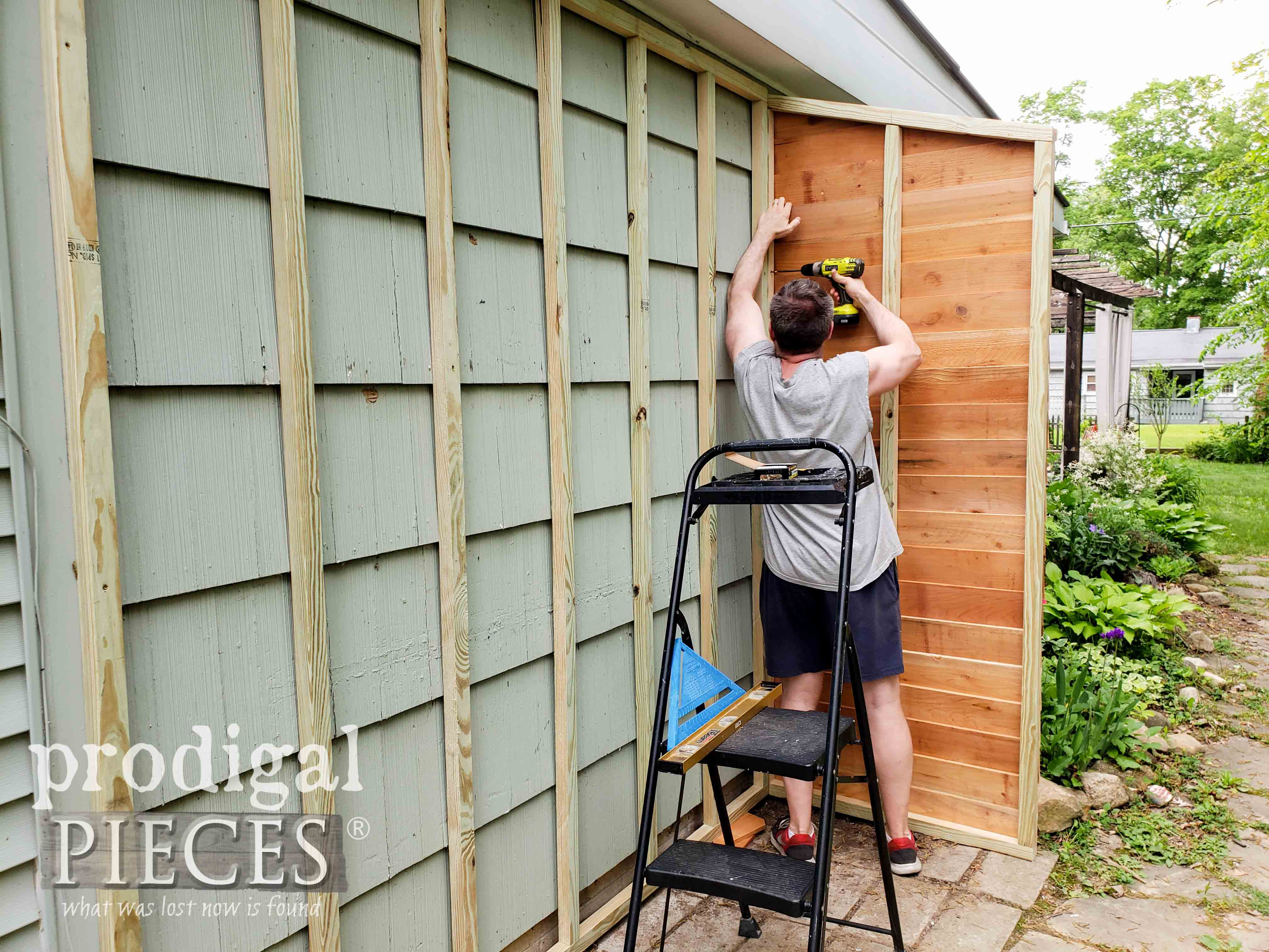 Attaching First Wall of Cedar Garden Shed | prodigalpieces.com