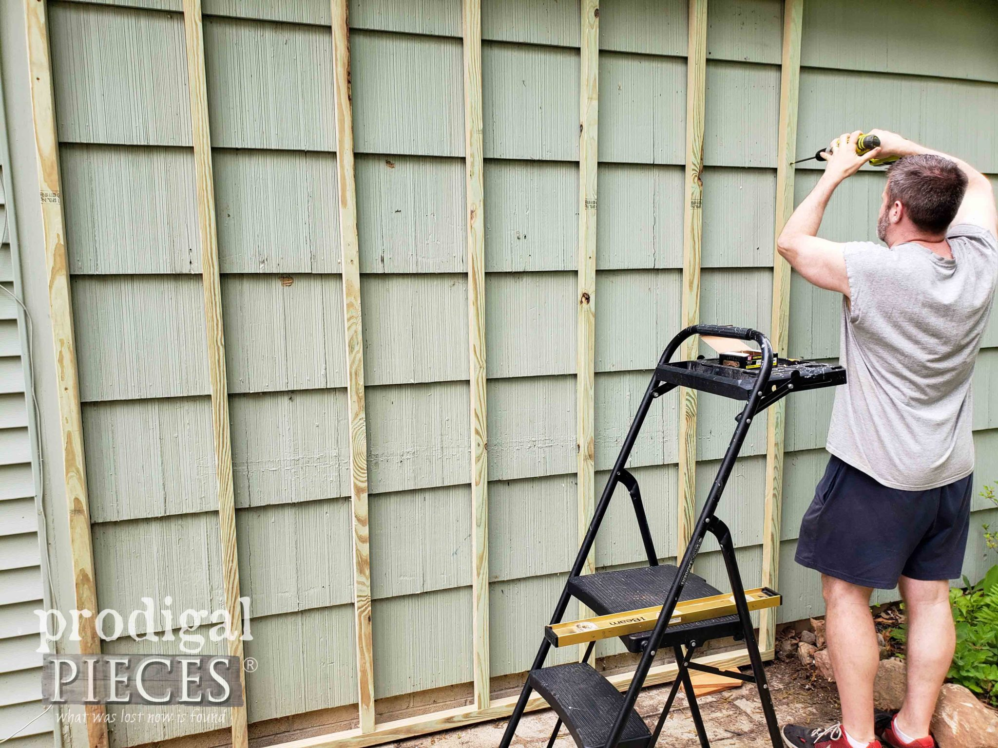 Attaching Shed Frame to Side of House | prodigalpieces.com