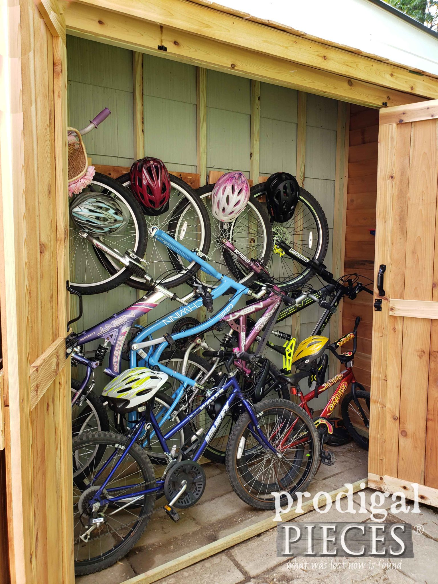 DIY Cedar Bike Shed Interior | prodigalpieces.com #prodigalpieces #diy #home #outdoor #storage #garden