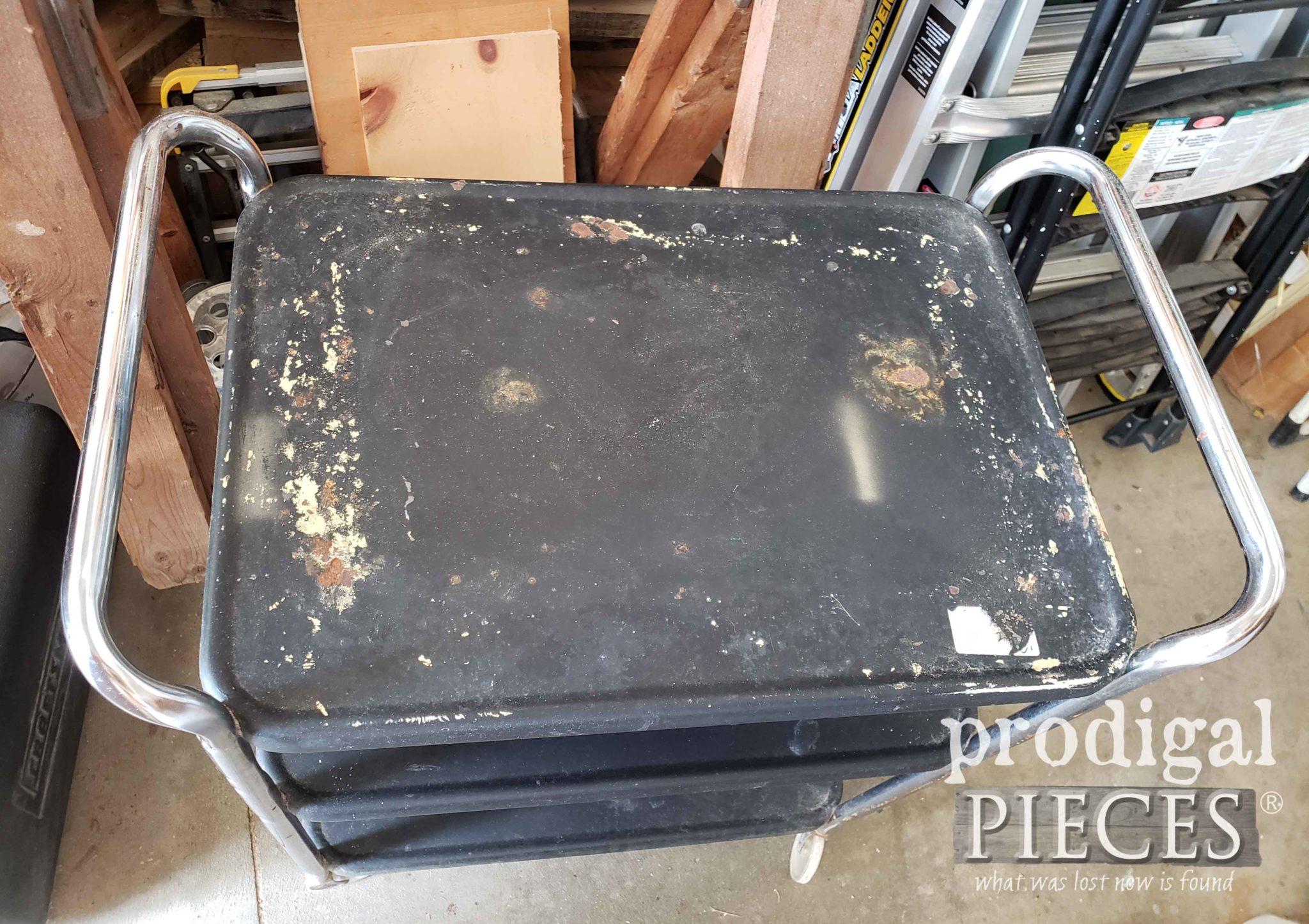 Damaged Vintage Cosco Cart Top Before | prodigalpieces.com