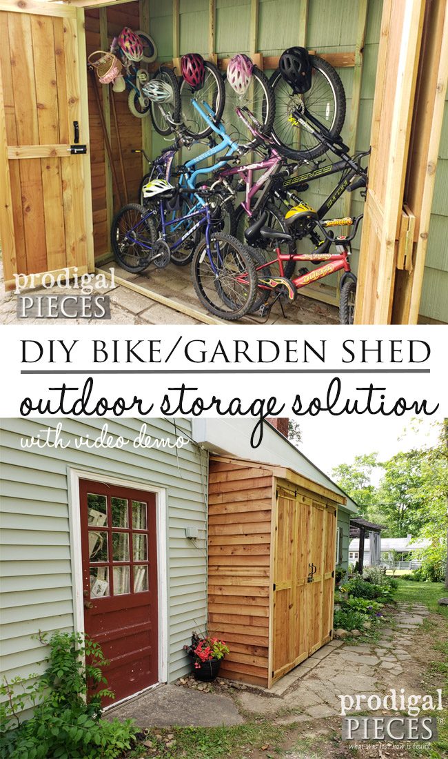 You can build this DIY bike garden shed on a budget | Video tutorial by Larissa of Prodigal Pieces | prodigalpieces.com #prodigalpieces #diy #home #outdoor #garden #storage