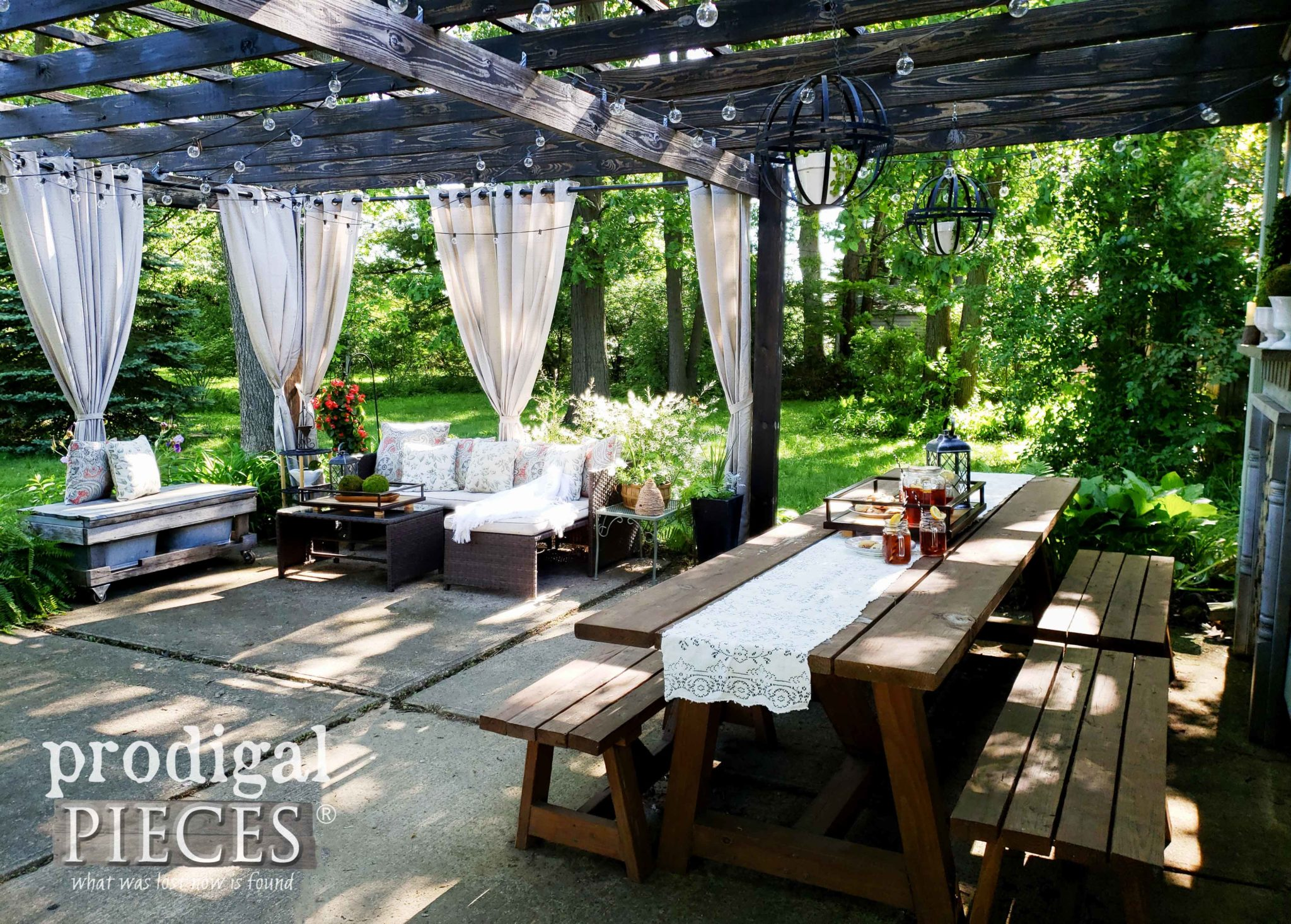 DIY Patio with Pergola and Large Outdoor Dining Table with Benches by Larissa of Prodigal Pieces | prodigalpieces.com #prodigalpieces #diy #home #outdoor #patio #homedecor #farmhouse