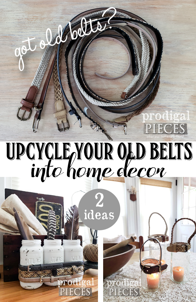 Got a stash of old belts? Join Larissa of Prodigal Pieces as she creates farmhouse style decor with upcycled belts and thrift store finds | Video tutorial at Prodigal Pieces | prodigalpieces.com #prodigalpieces #diy #farmhouse #home #homedecor #fashion
