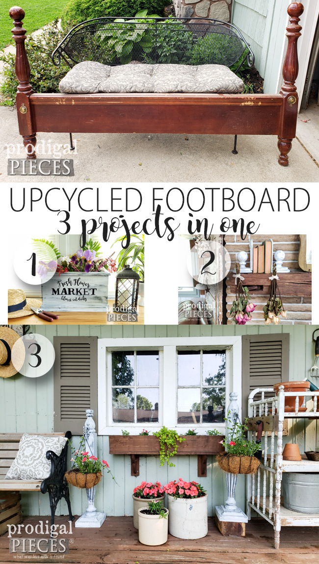 DIY Upcycled Footboard Made into 3 Different Projects: Plant Hanger Stands, Bookends, and Planter Box | Full project at prodigalpieces.com #prodigalpieces #diy #home #homedecor #handmade #farmhouse #garden