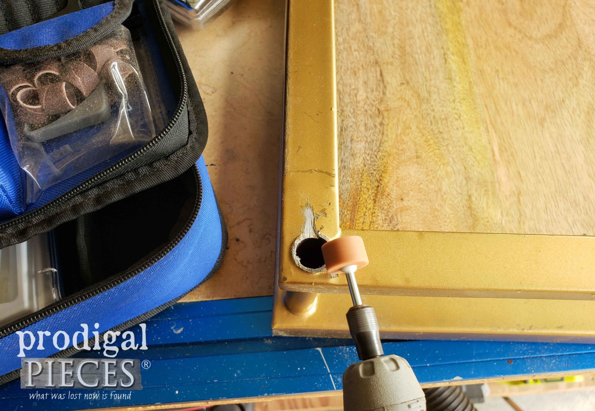 Using Dremel Grinding Stone Attachment to Smooth Cut Metal | prodigalpieces.com