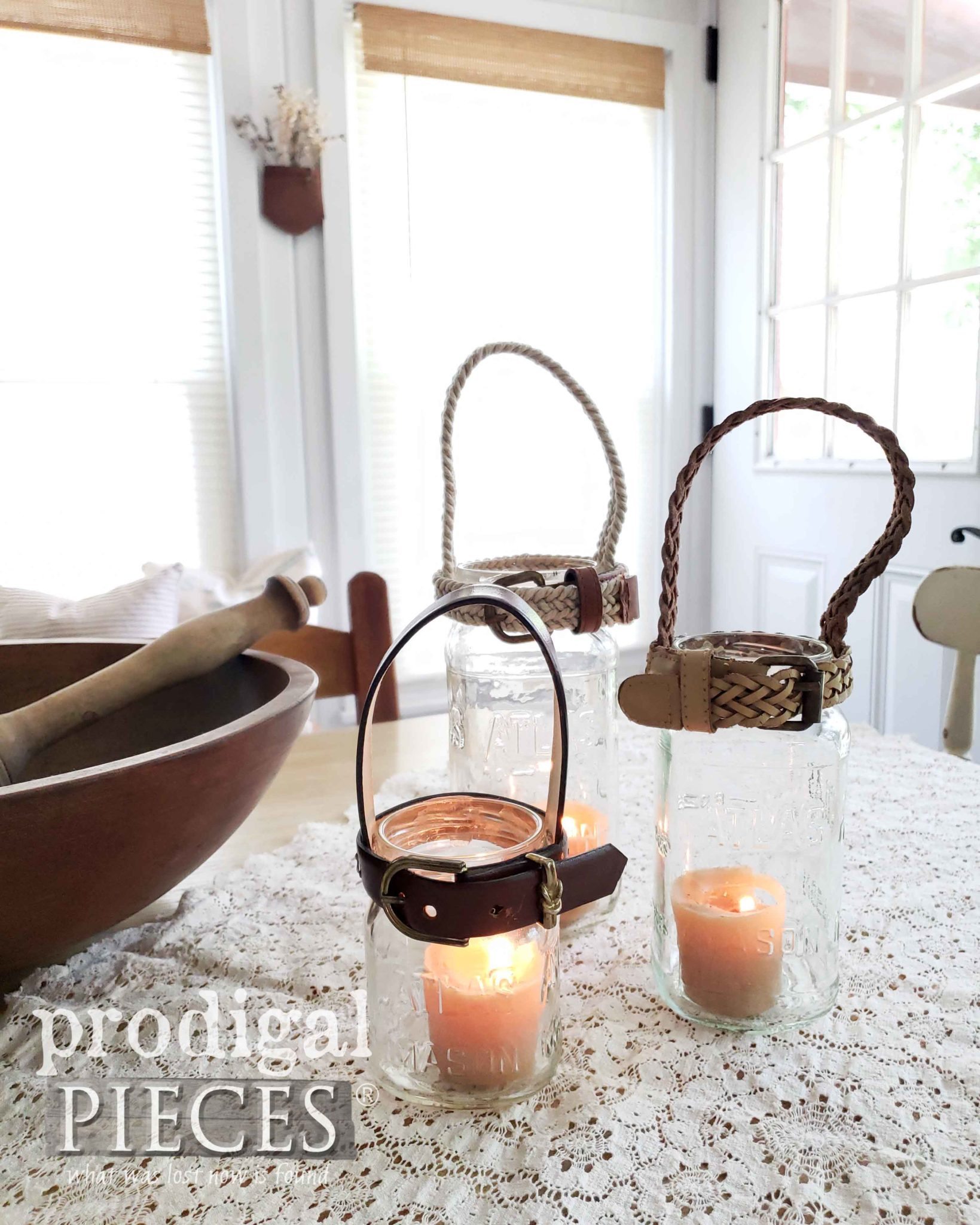 Farmhouse Style Canning Jar Candle Holders Made from Upcycled Belts by Larissa of Prodigal Pieces | prodigalpieces.com #prodigalpieces #diy #home #farmhouse #homedecor