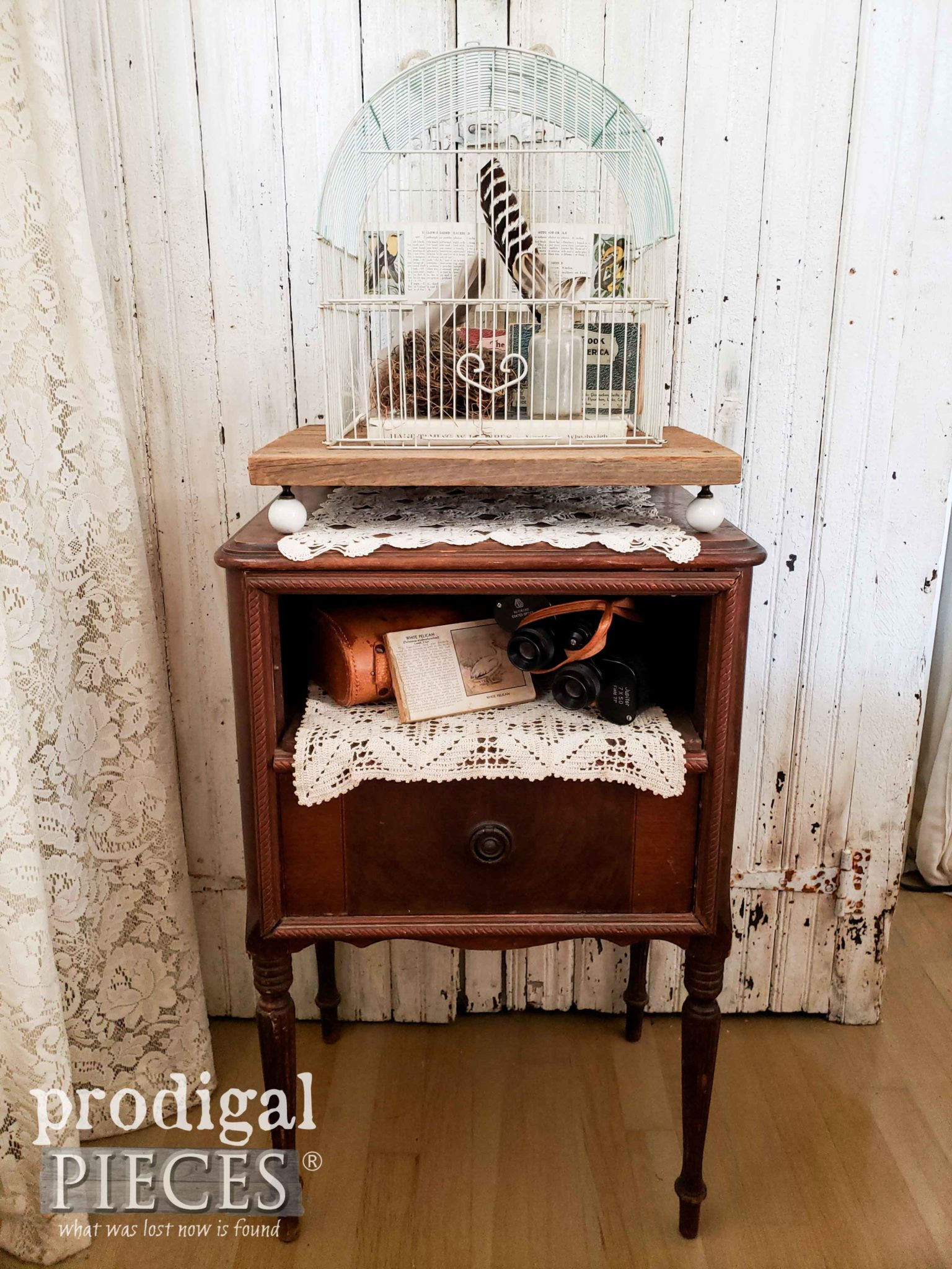 Farmhouse Style Decor with Upcycled Bird Cage Filled with Birding Memories by Larissa of Prodigal Pieces | prodigalpieces.com #prodigalpieces #diy #farmhouse #home #birds #homedecor