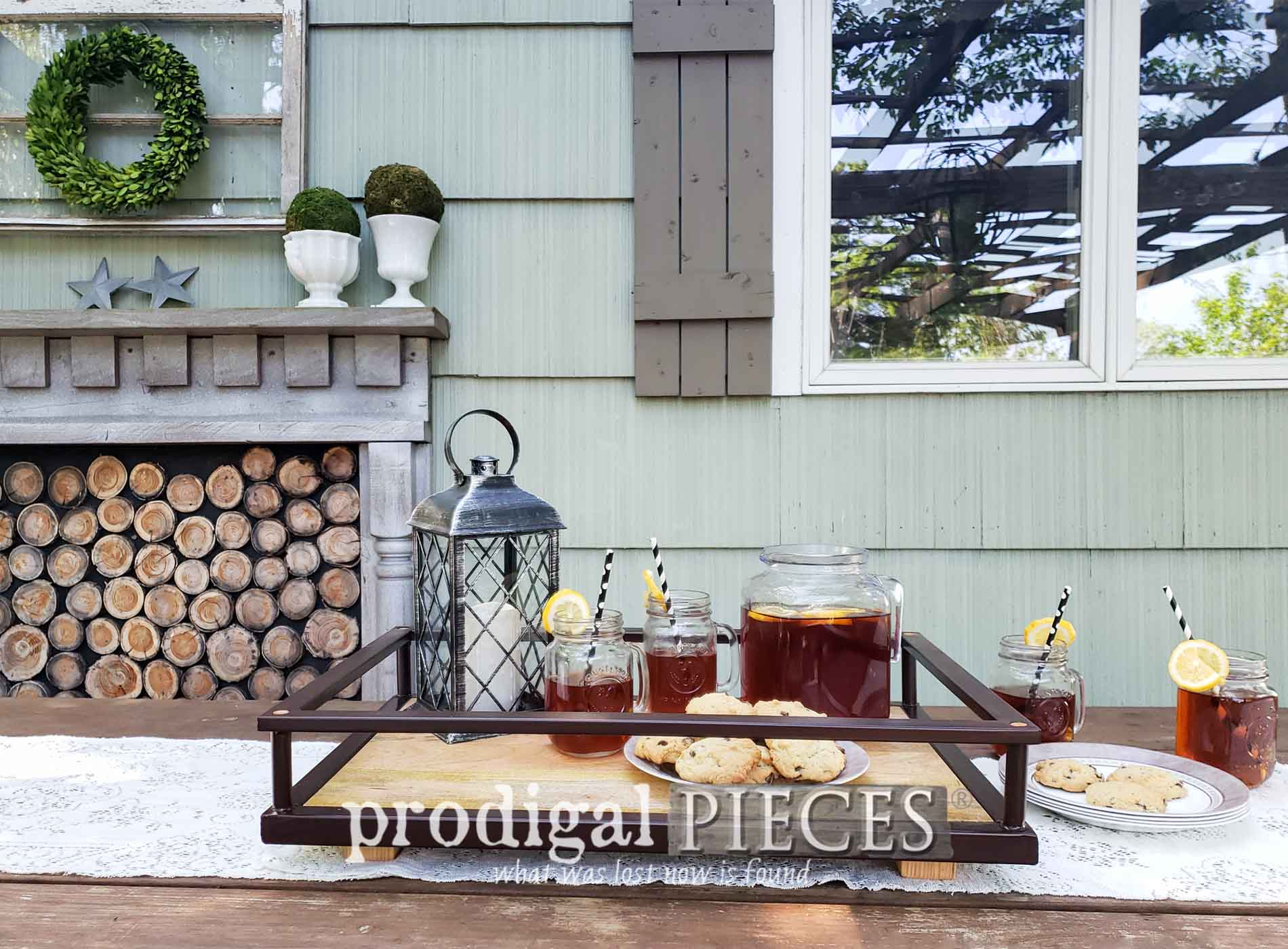 Featured Upcycled Serving Trays Created from a Target Bar Cart by Larissa of Prodigal Pieces   Video Tutorial at prodigalpieces.com #prodigalpieces #diy #home #homedecor #patio #entertaining