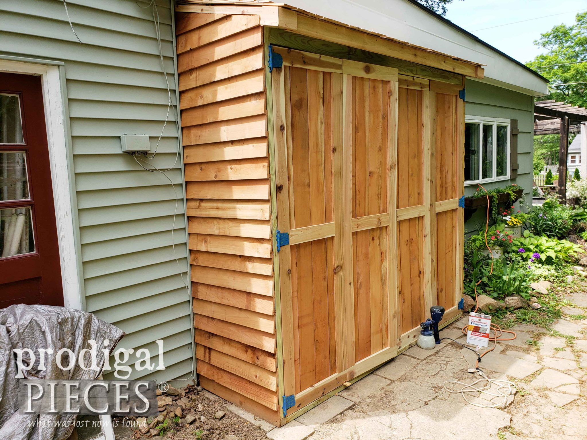 DIY Cedar Garden Shed with WaterSeal Protectant | Video demonstration by Larissa of Prodigal Pieces | prodigalpieces.com #prodigalpieces