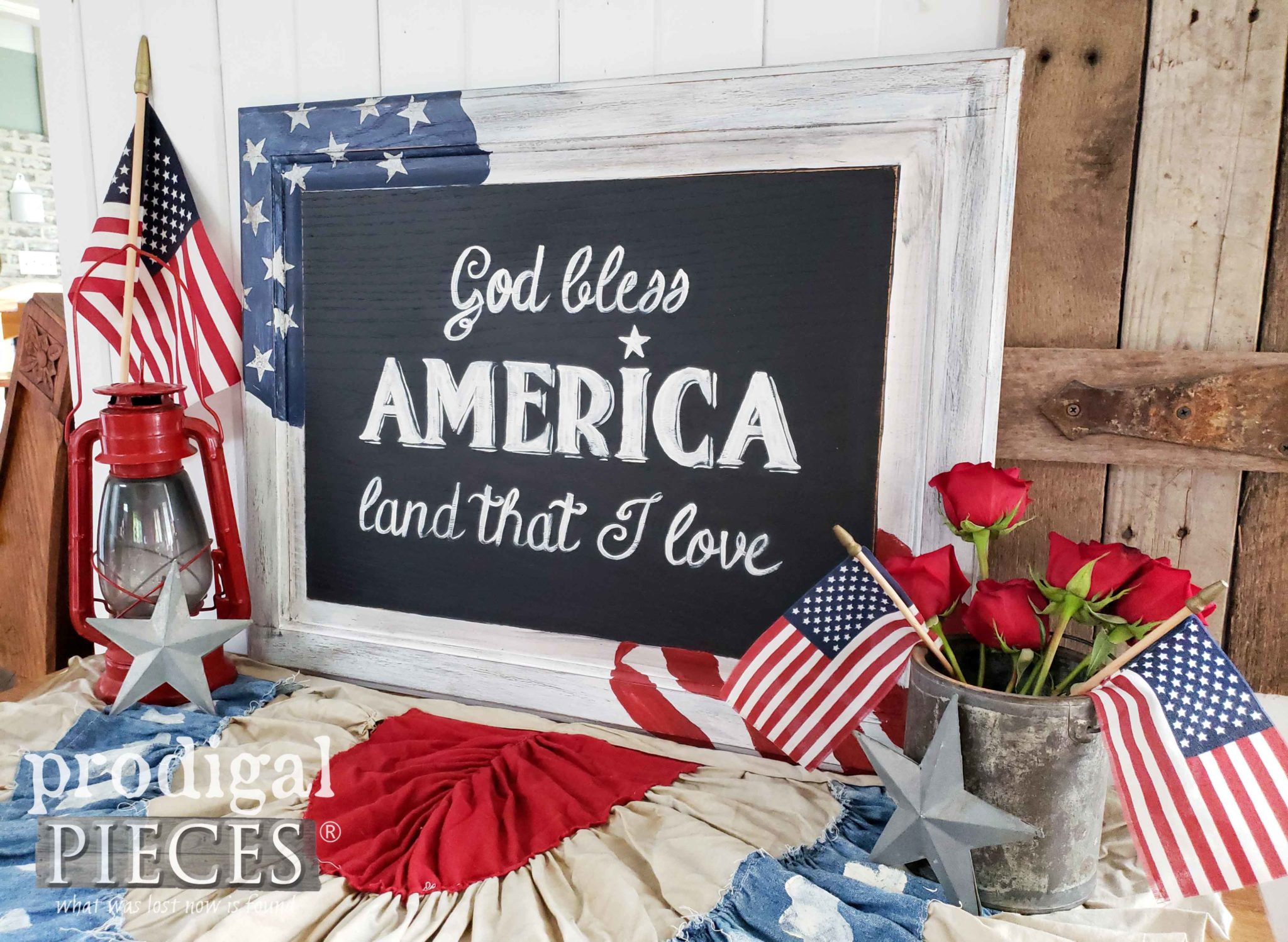 God Bless American Sign with Free Star Printables and Video Tutorial by Larissa of Prodigal Pieces | prodigalpieces.com #prodigalpieces #diy #printable #4thofjuly #farmhouse #home #homedecor