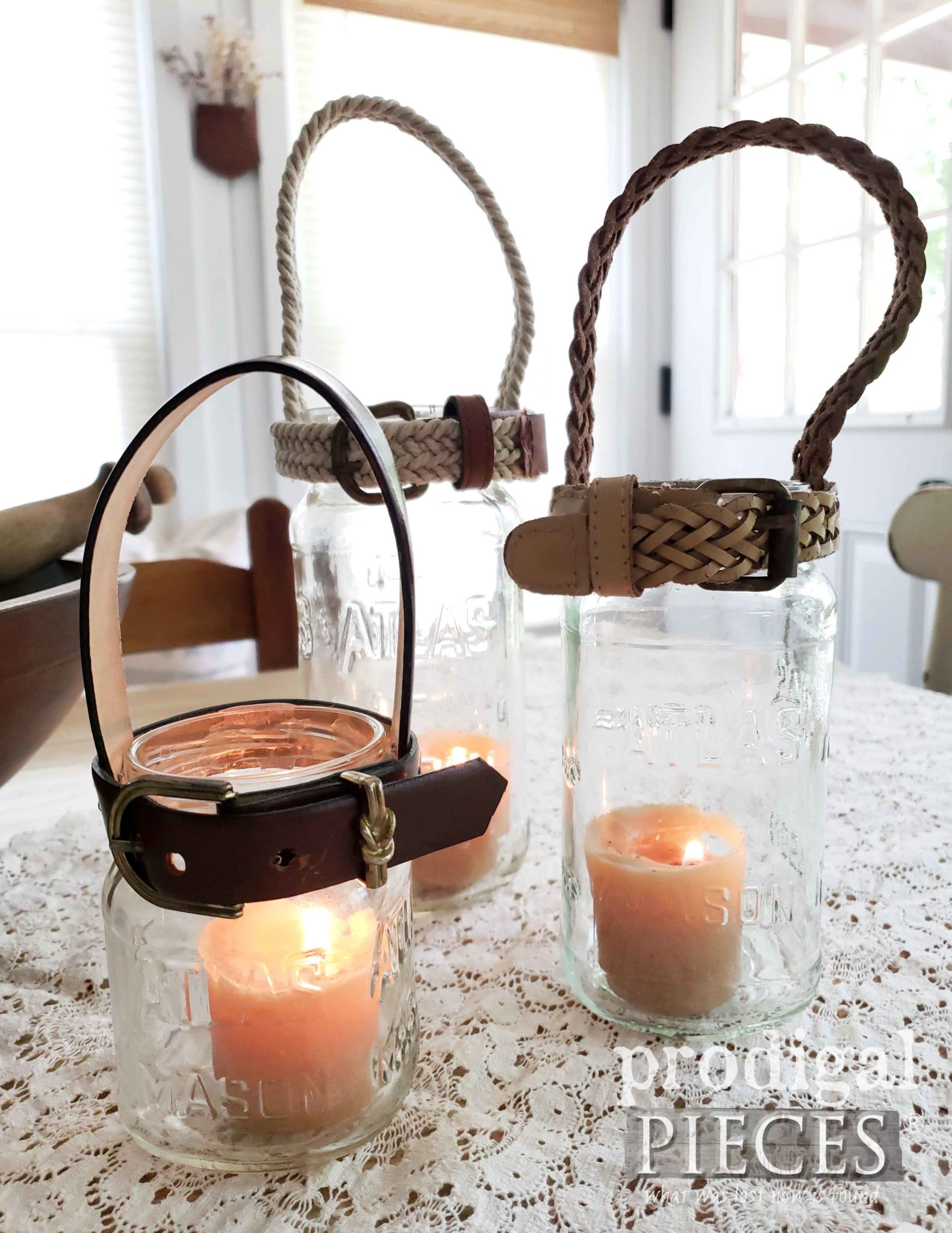 DIY Jar Candle Holders for Farmhouse Decor with Upcycled Belts by Larissa of Prodigal Pieces | prodigalpieces.com #prodigalpieces #diy #farmhouse #home #homedecor