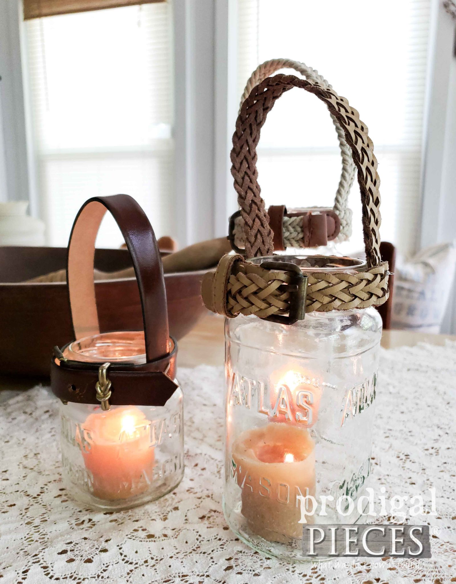 Leather Belt & Rope Canning Jar Candle Holders by Larissa of Prodigal Pieces | prodigalpieces.com #prodigalpieces #farmhouse #homedecor #diy #crafts #home