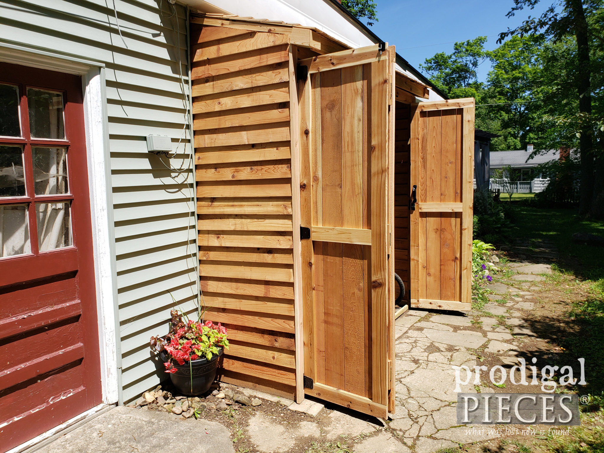 Open Bike Garden Shed with BiFold Doors by Larissa of Prodigal Pieces | prodigalpieces.com