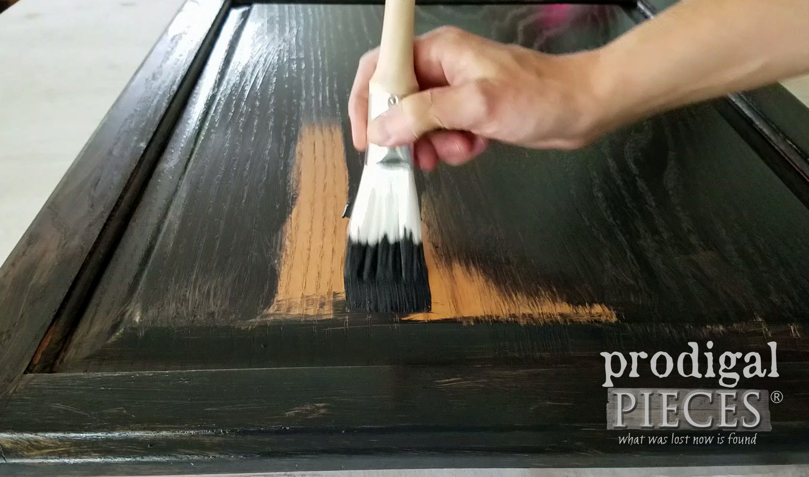 Painting Cupboard Door with Zibra Fan Paint Brush by Prodigal Pieces | prodigalpieces.com