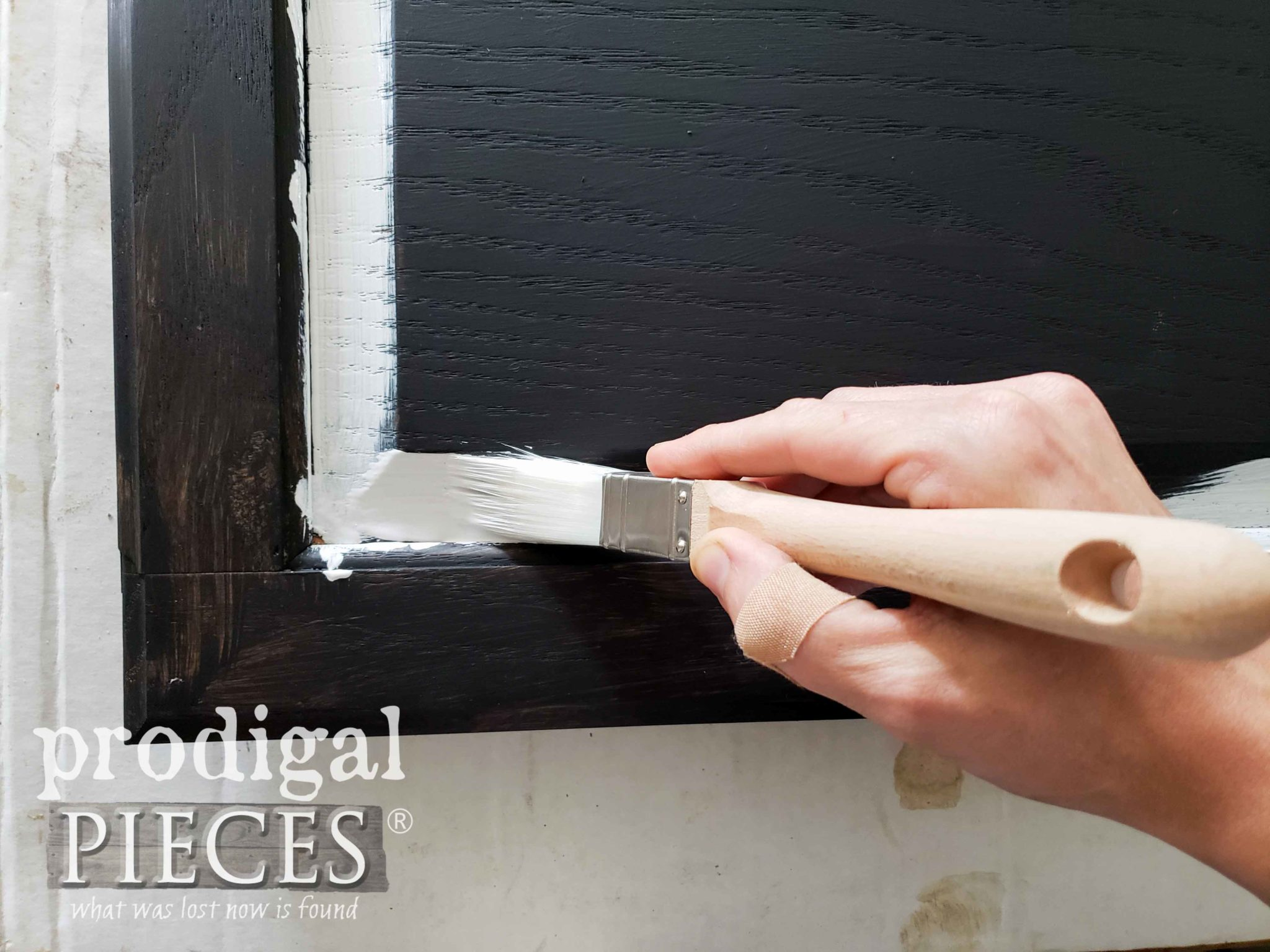 Painting Chalkboard Cupboard Door Trim with Zibra Square Paint Brush by Prodigal Pieces | prodigalpieces.com