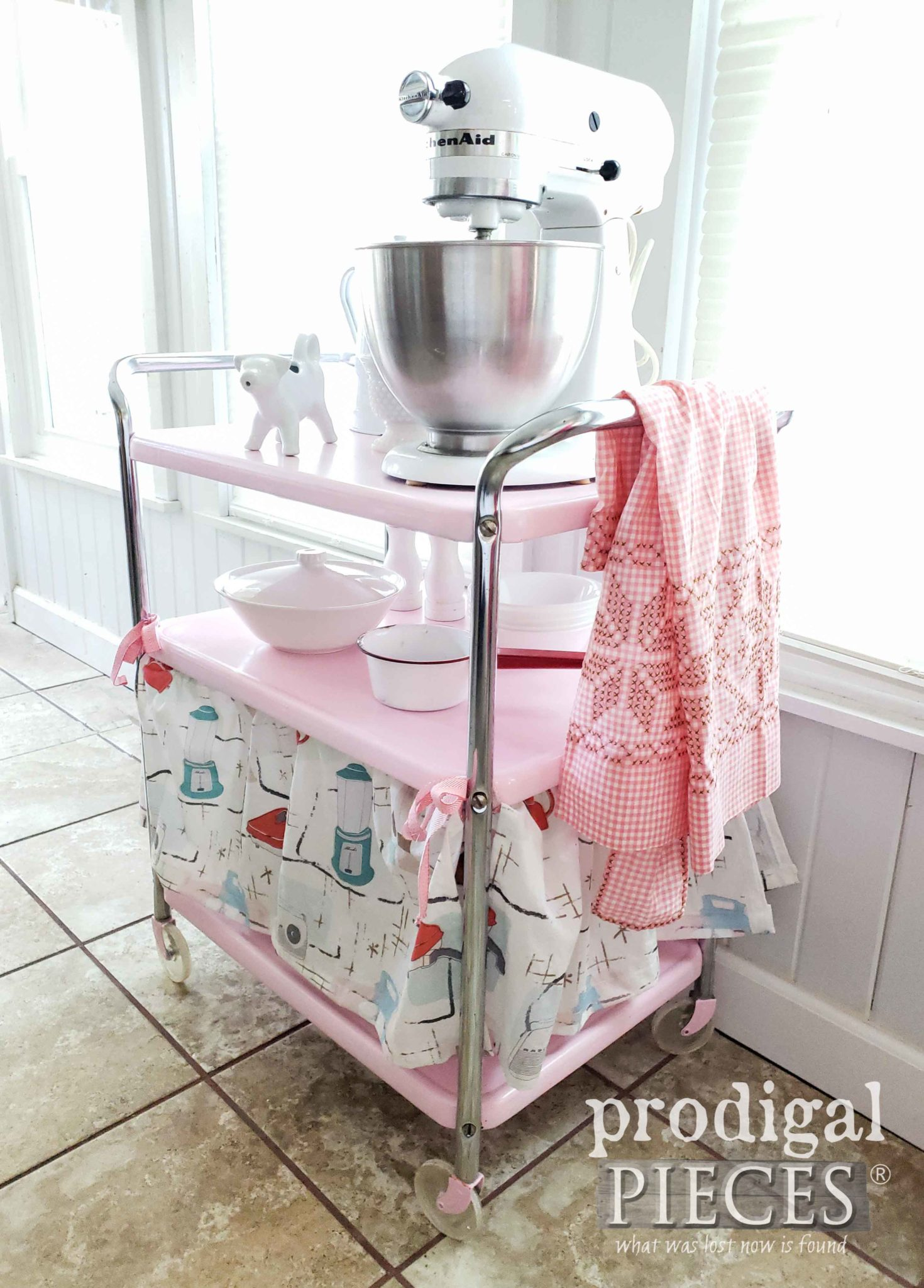 Pink Vintage Cosco Cart with Dust Ruffle Skirt by Larissa of Prodigal Pieces | prodigalpieces.com #prodigalpieces #diy #home #homedecor #furniture #retro #vintage