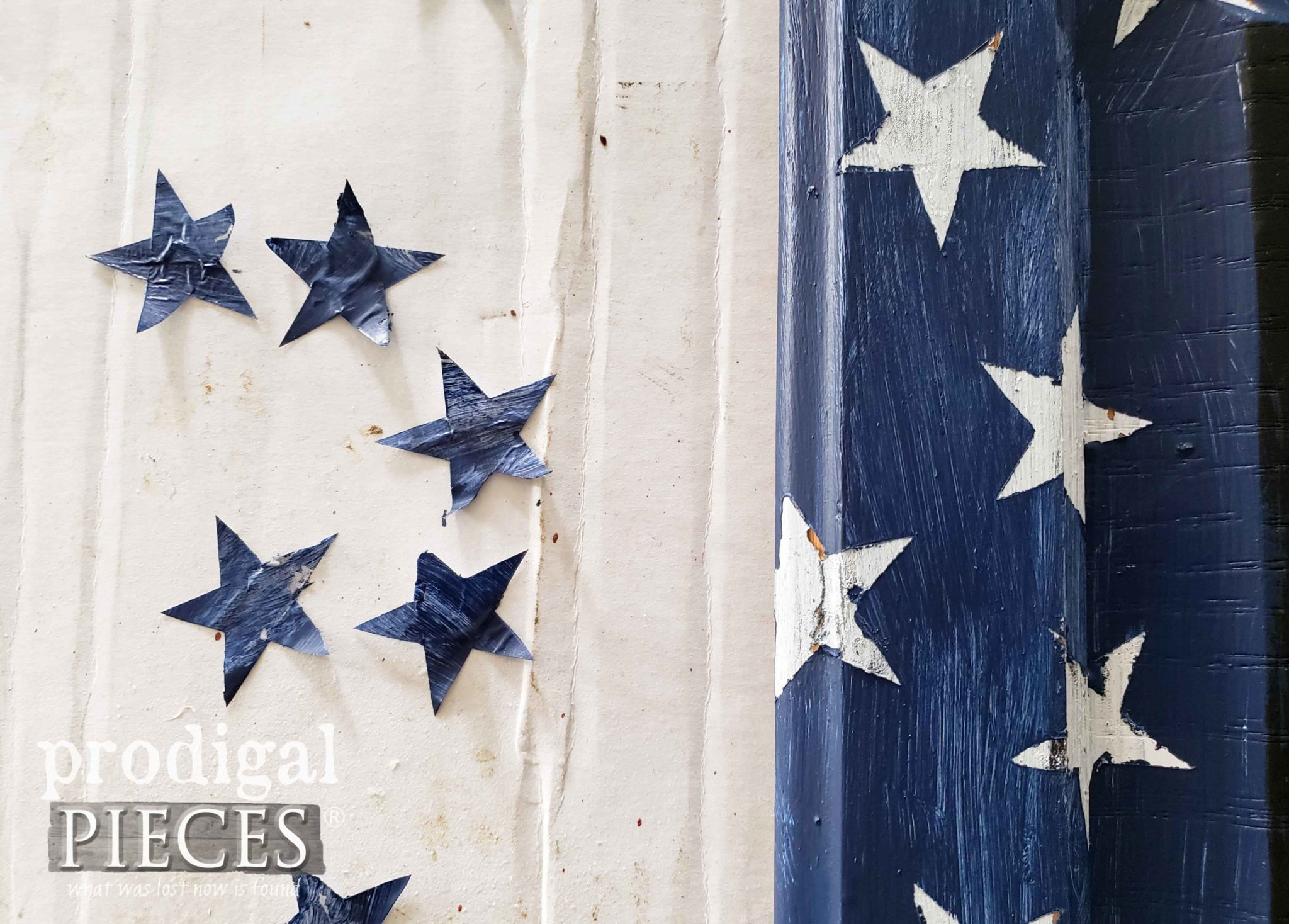 Removing Reverse Stencil Stars from DIY 4th of July Sign by Prodigal Pieces | prodigalpieces.com #prodigalpieces #diy #home #homedecor #4thofjuly