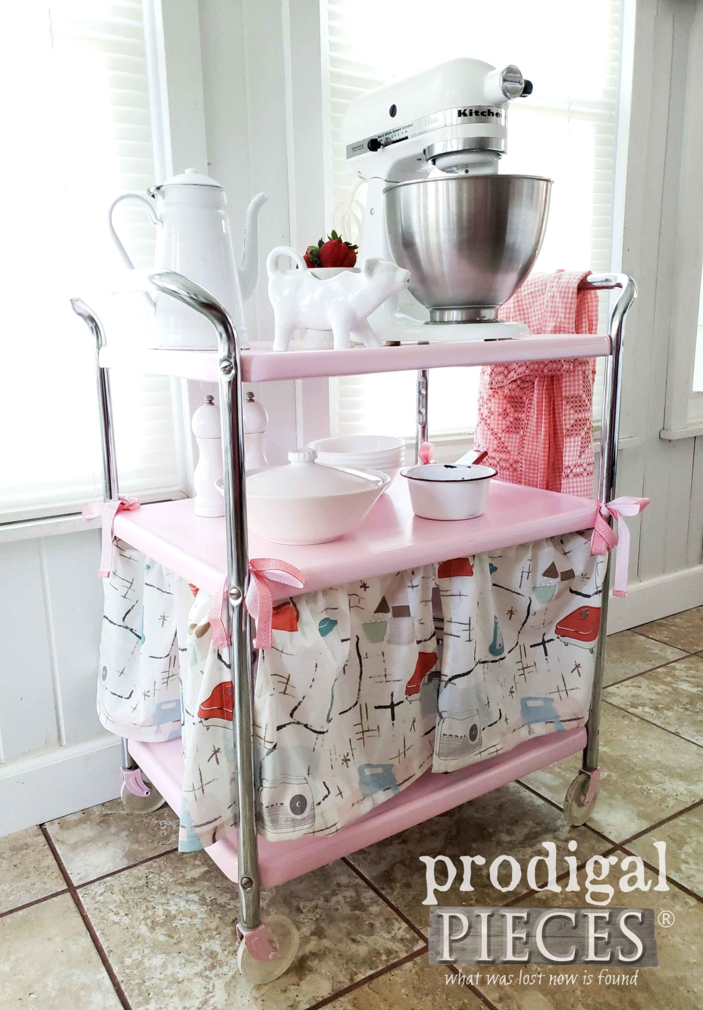 Retro Cosco Kitchen Cart Refinished into a Candy Pink with Dust Ruffle Skirt by Larissa of Prodigal Pieces | prodigalpieces.com #prodigalpieces #furniture #home #homedecor #diy