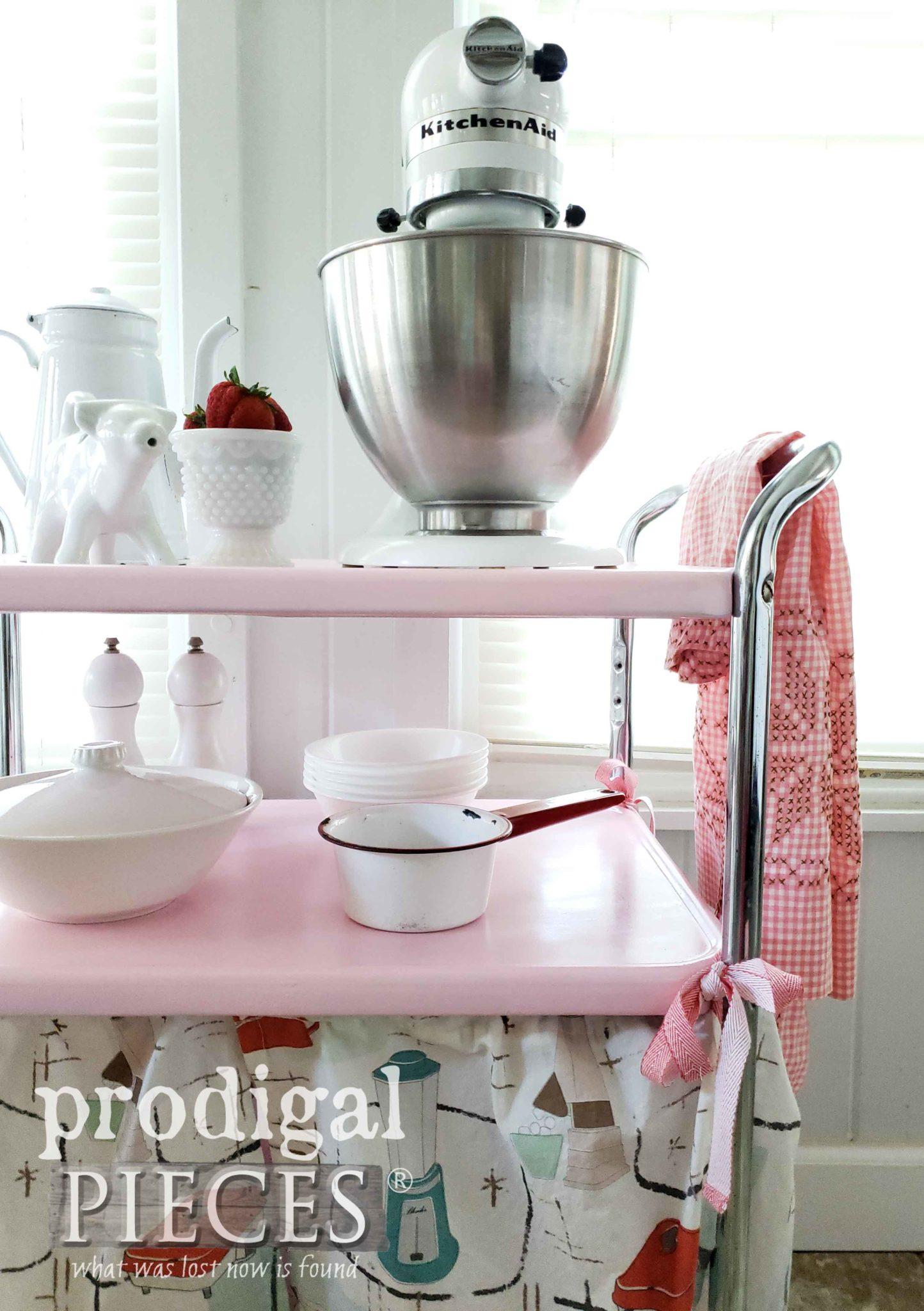 Retro Pink Cosco Kitchen Cart by Larissa of Prodigal Pieces | prodigalpieces.com #prodigalpieces #vintage #pink #home #homedecor