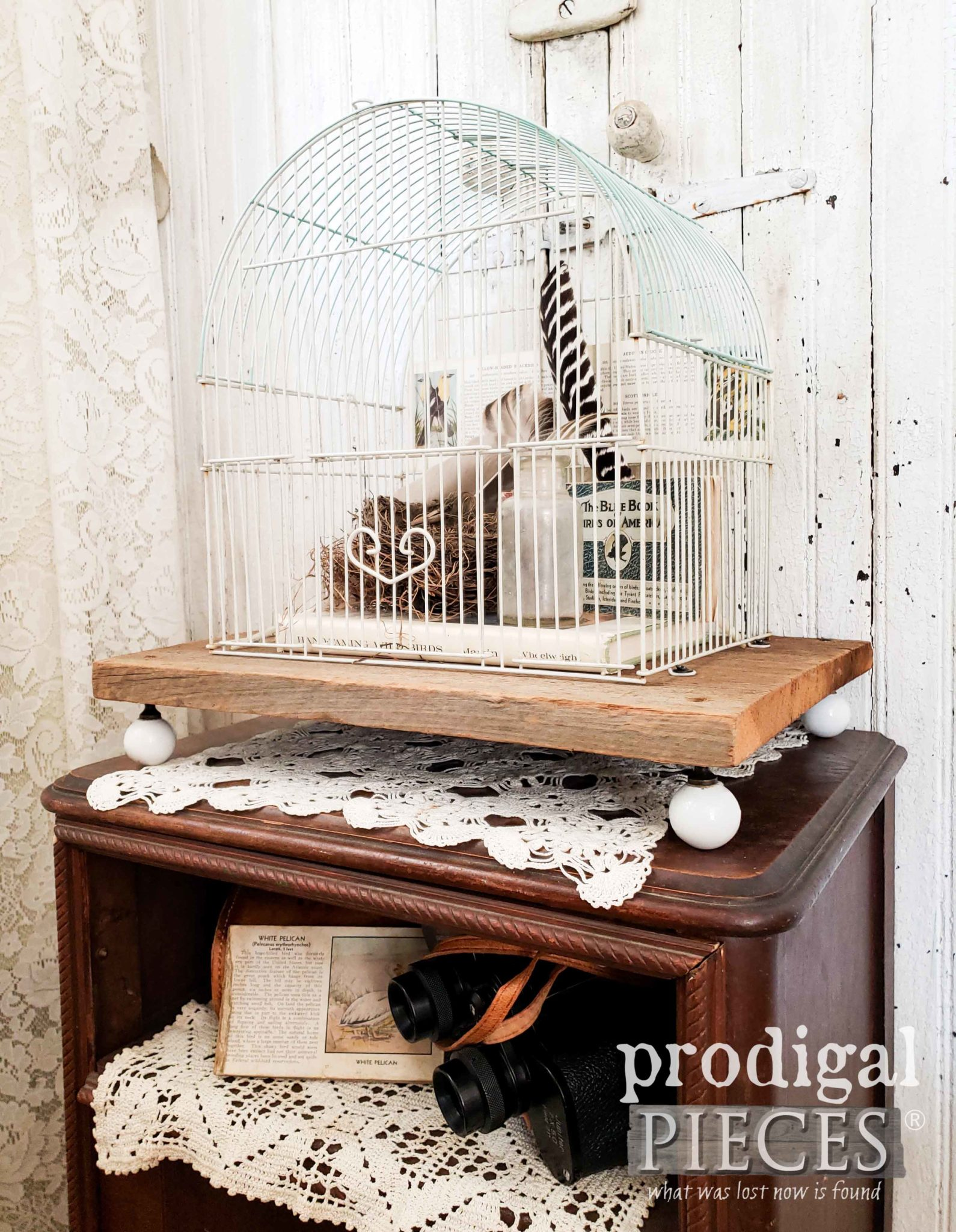 Rustic Chic Bird Cage Stand for Farmhouse Decor by Larissa of Prodigal Pieces | prodigalpieces.com #prodigalpieces #homedecor #diy #farmhouse #home #rustic