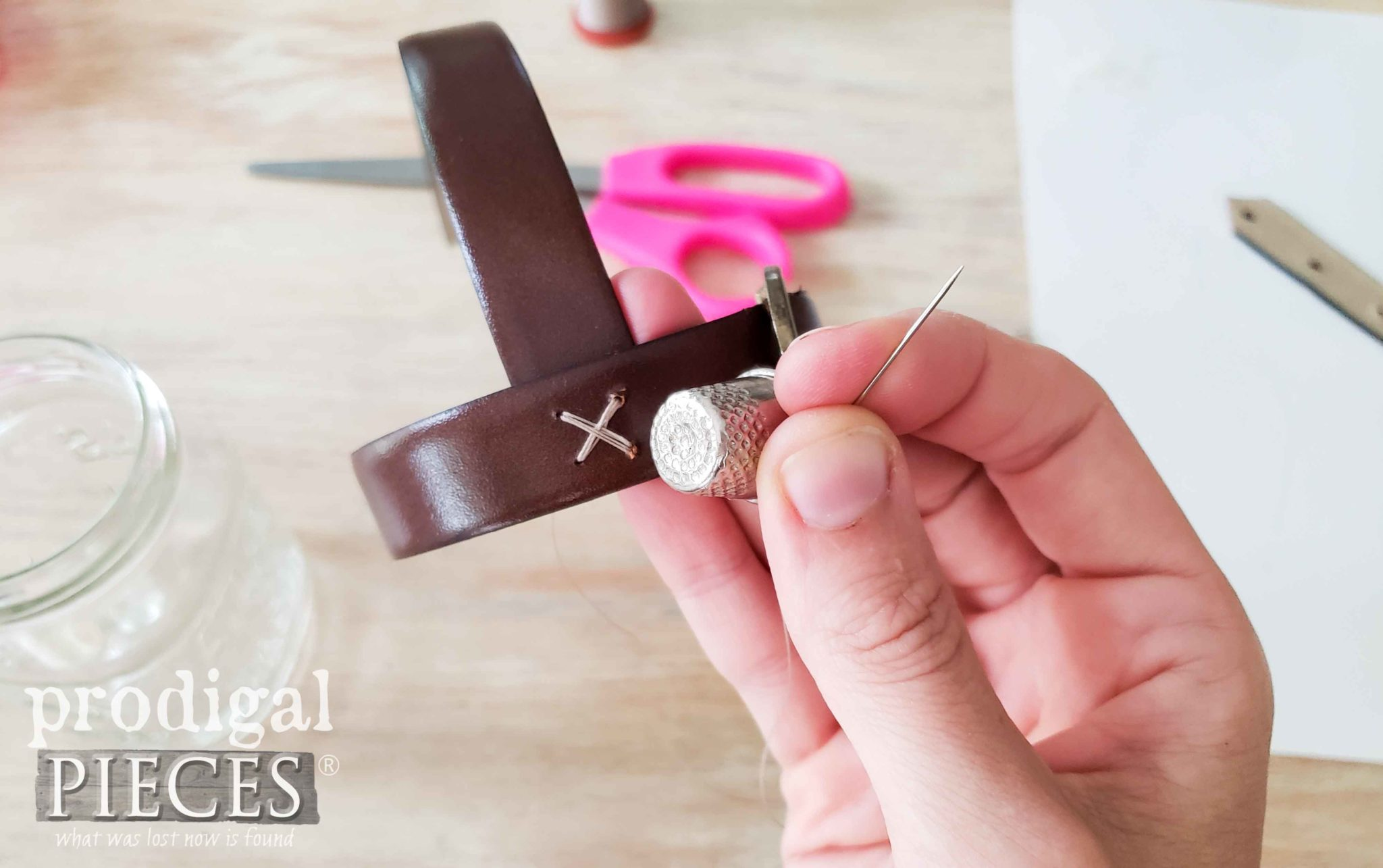 Stitching Leather Belt Handle to Votive Candle Jar | prodigalpieces.com