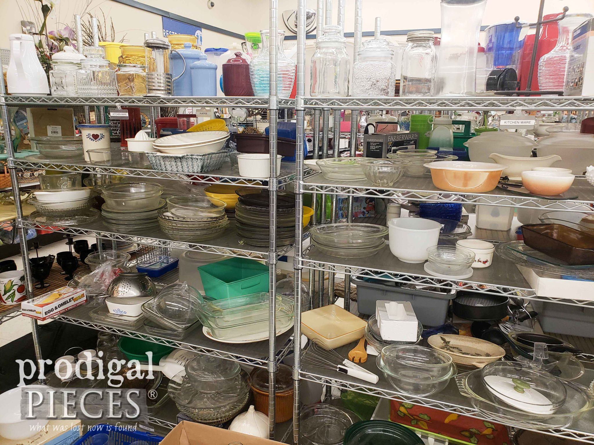 Thrift Store Glassware Section as shown by Prodigal Pieces | prodigalpieces.com