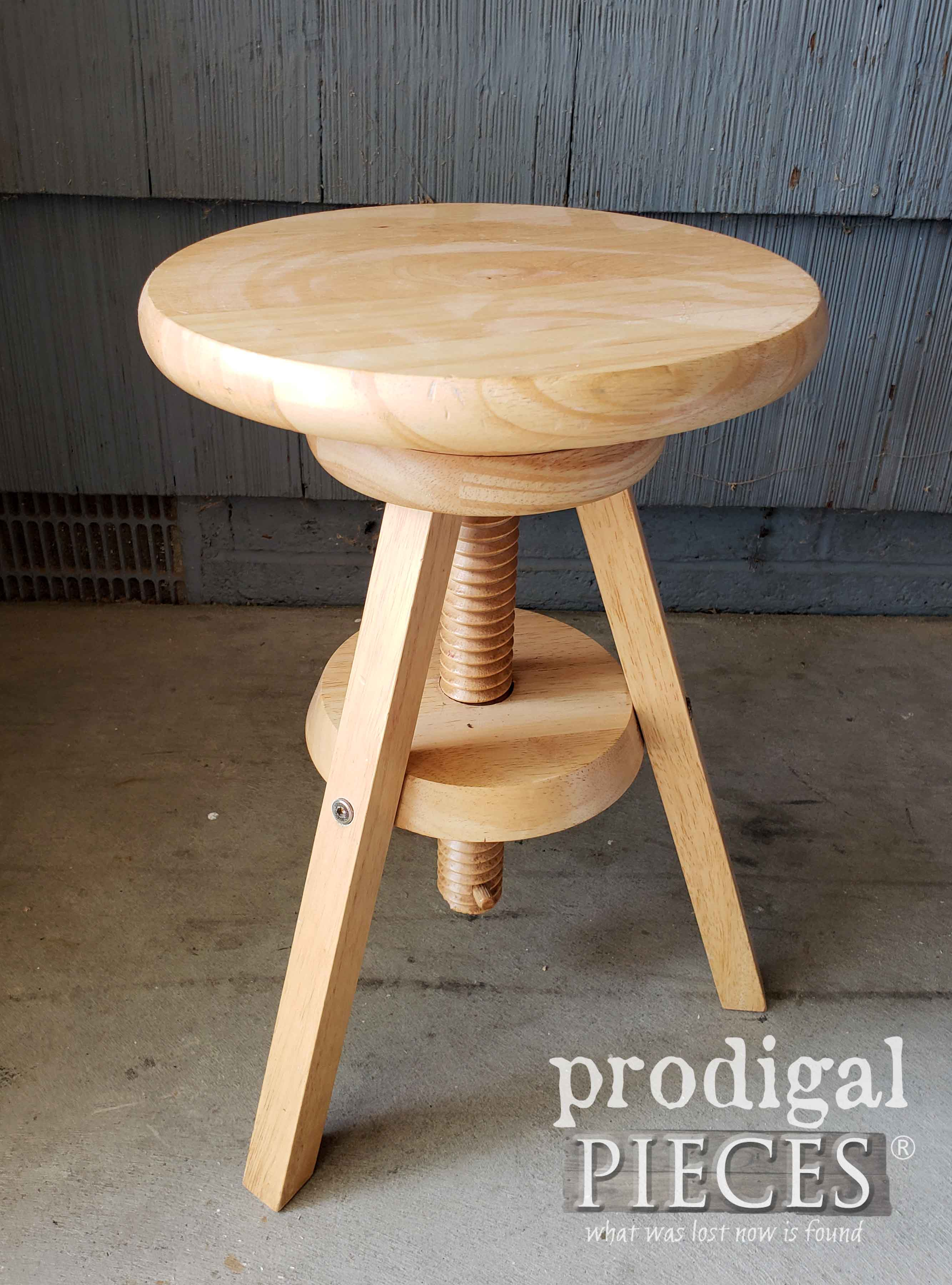 Thrifted Wooden Stool Before Makeover by Larissa of Prodigal Pieces | prodigalpieces.com