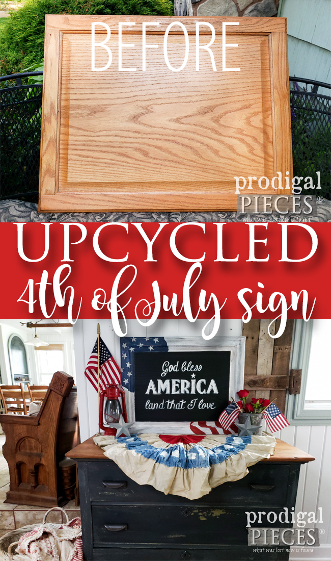 Who knew a cupboard door could look so good! Larissa of Prodigal Pieces shares how she created this DIY 4th of July Sign with video tutorial | It can be for any holiday or just because. Head to prodigalpieces.com #prodigalpieces #diy #home #homedecor #4thofjuly #independenceday #holiday #farmhosue