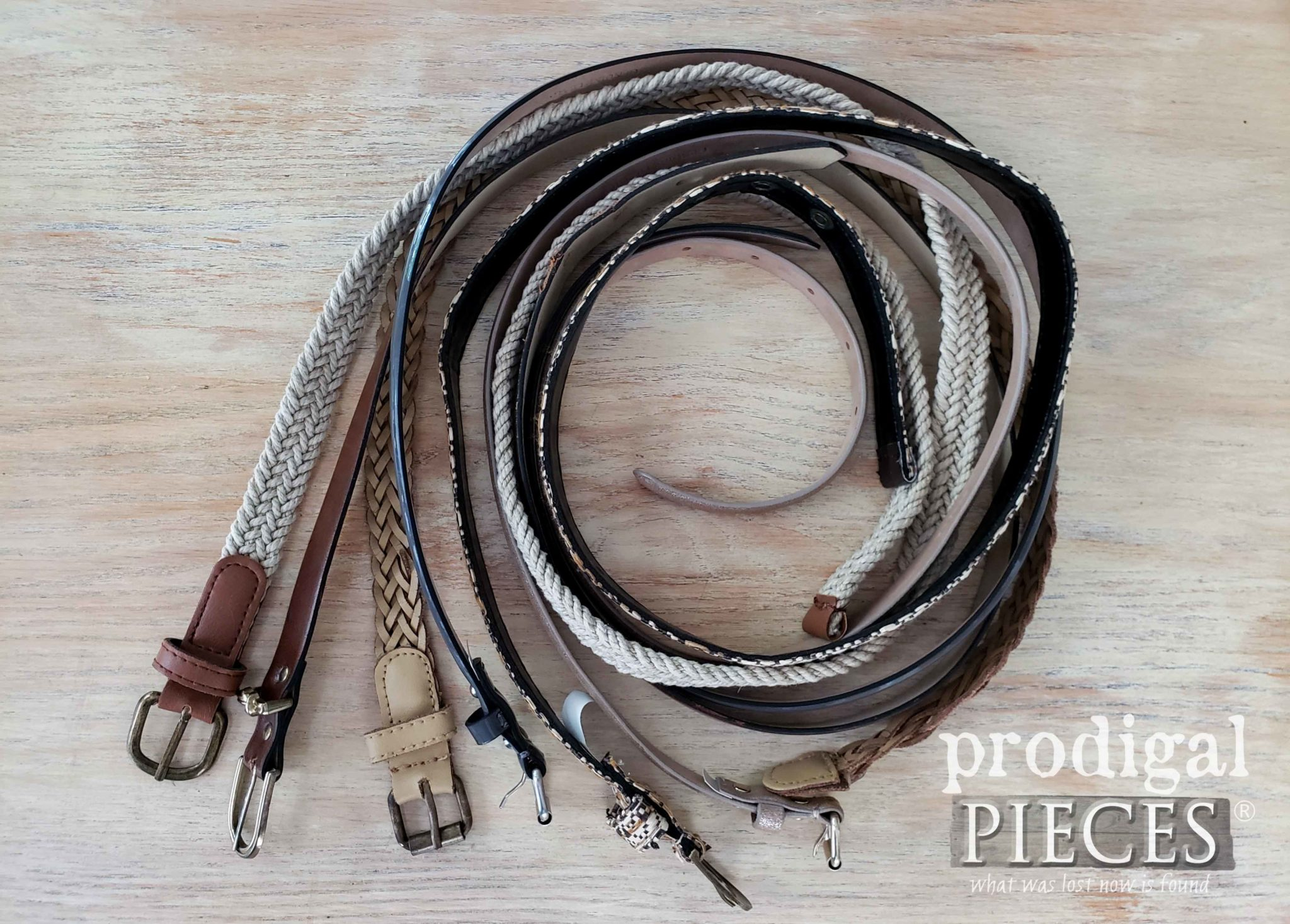 Upcycled Belts Before Made into Home Decor | prodigalpieces.com