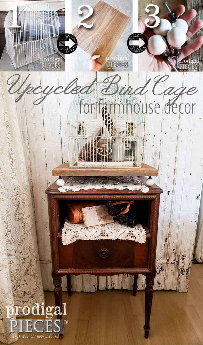 Create your own farmhouse style vignette with an upcycled bird cage and reclaimed parts. DIY is fun! Larissa of Prodigal Pieces shares the steps at prodigalpieces.com | #prodigalpieces #diy #home #farmhouse #homedecor #upycled