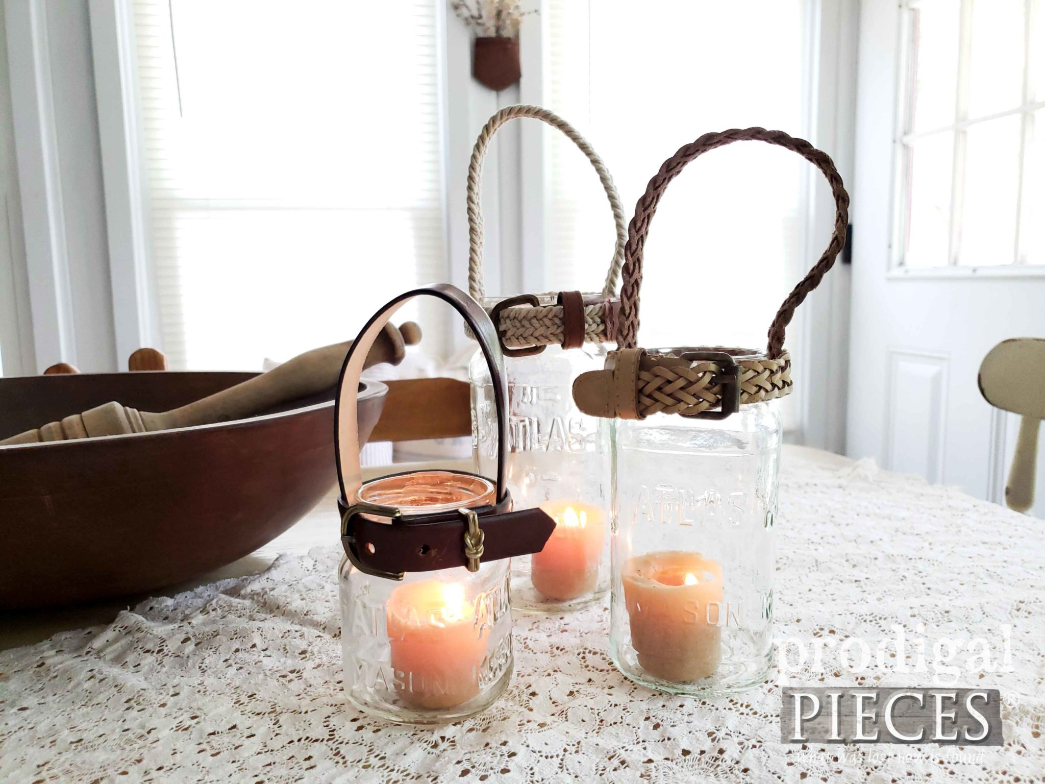 Upcycled Farmhouse Canning Jar Candle Holders with Upcycled Belts by Larissa of Prodigal Pieces | prodigalpieces.com #prodigalpieces #diy #farmhouse #homedecor #home