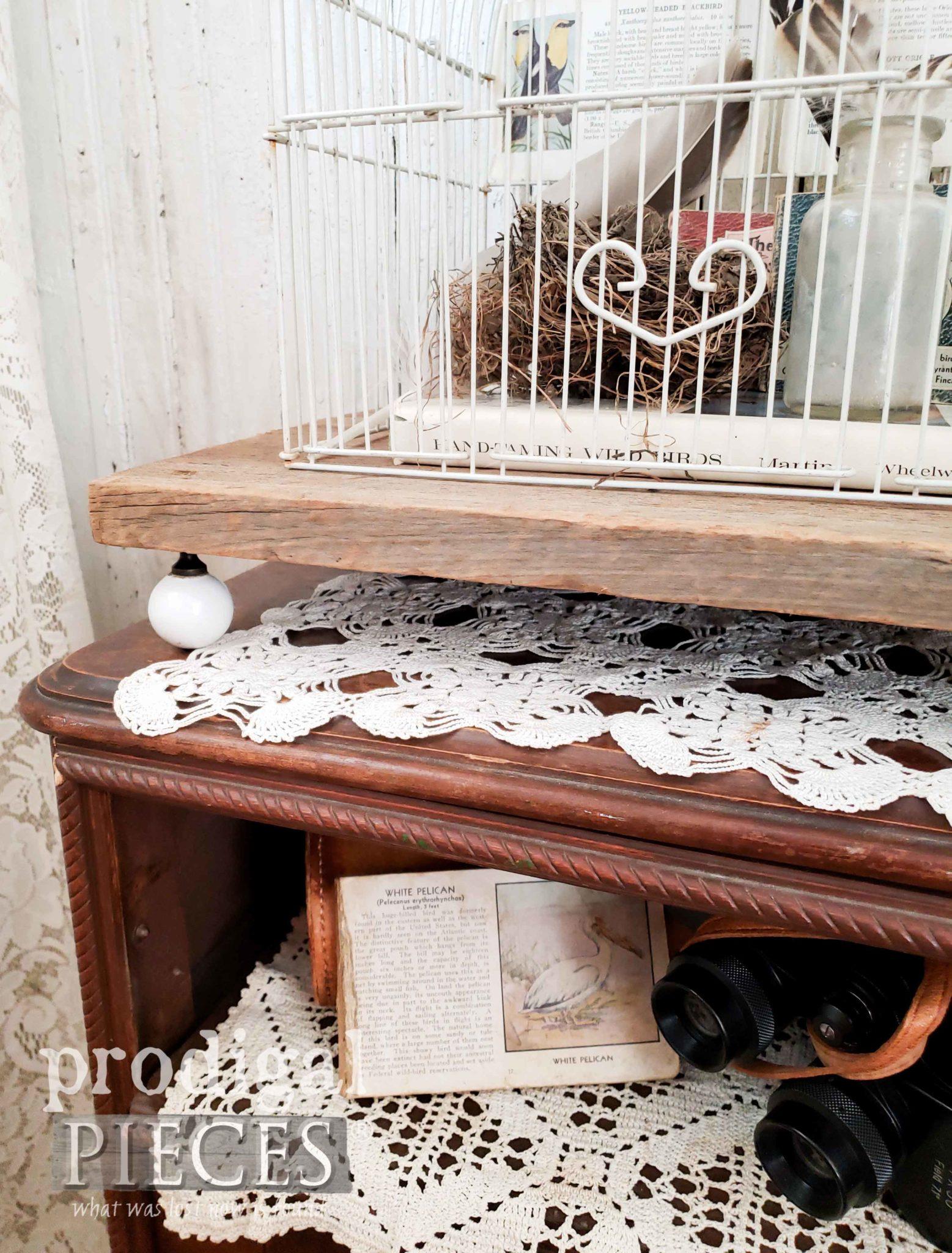 Upcycled Drawer Knobs for Upcycled Bird Cage Farmhouse Decor | prodigalpieces.com #prodigalpieces #diy #farmhouse #homedecor