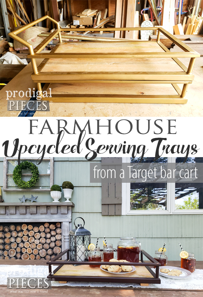 Check out how a Target bar cart became two upcycled serving trays by Larissa of Prodigal Pieces | Video tutorial at prodigalpieces.com #prodigalpieces #farmhouse #diy #home #homedecor #outdoor